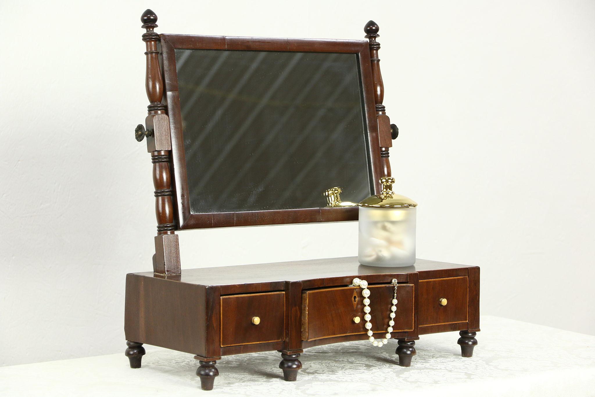 Dresser Top Antique English 1800 S Shaving Or Make Up Mirror