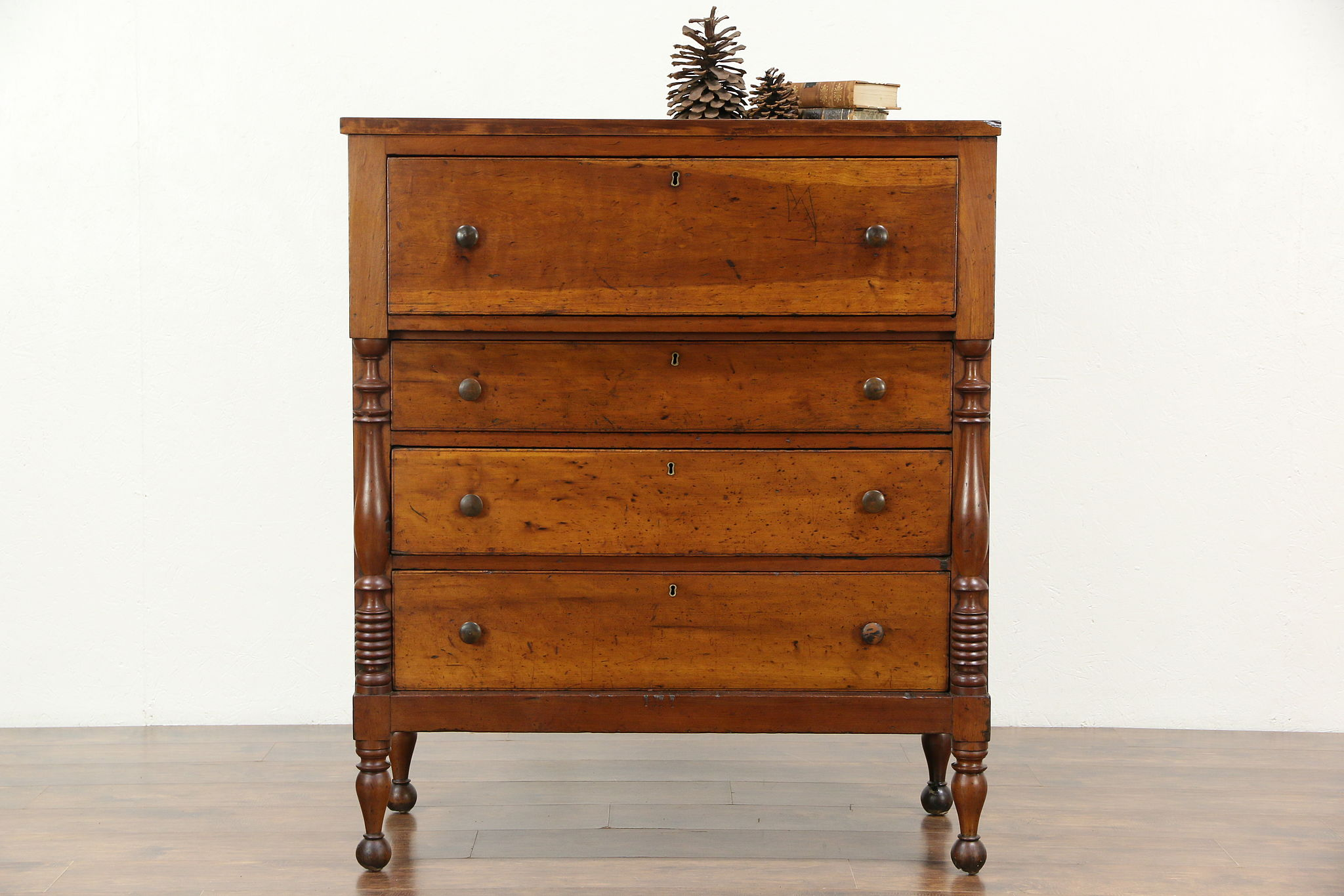 Very best SOLD - Empire 1830's Antique New England Cherry Chest or Tall  EN47