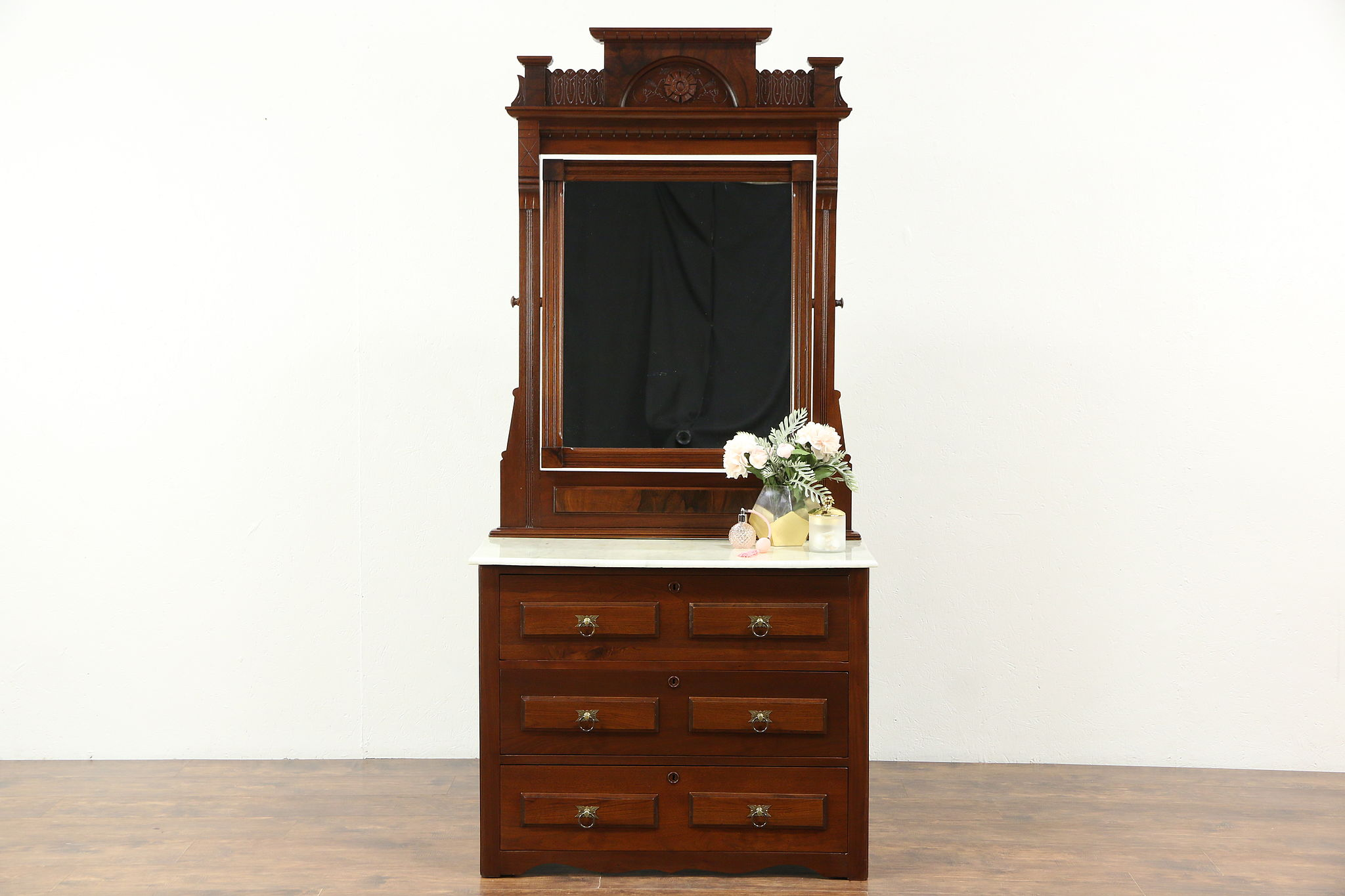 Victorian 1880 Antique Walnut Dresser With Mirror Marble