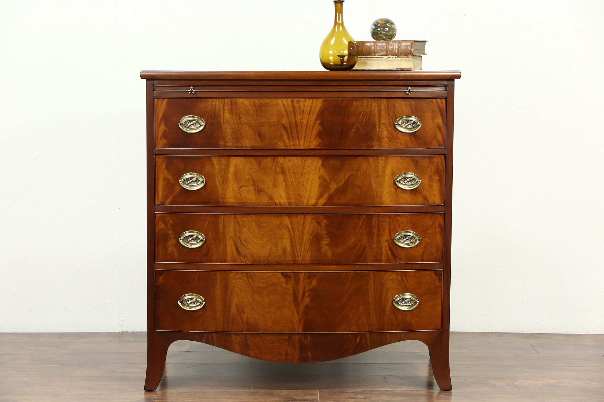 Georgian Bow Front 1930 S Vintage Mahogany Dresser Or Chest