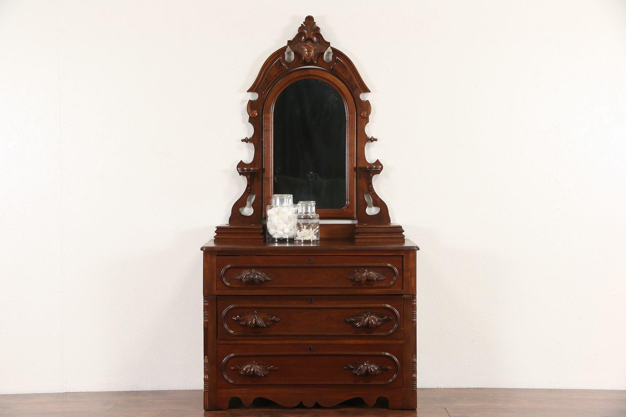 Sold Victorian 1870 Antique Walnut Chest Or Dresser