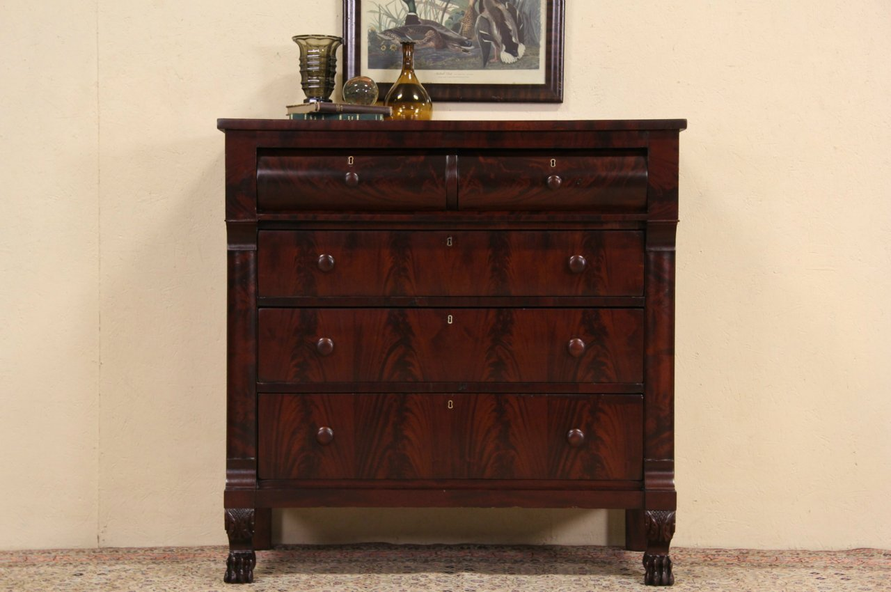 photo 1 - SOLD - Empire 1830 Antique Mahogany Chest Or Dresser, Lion Paw Feet