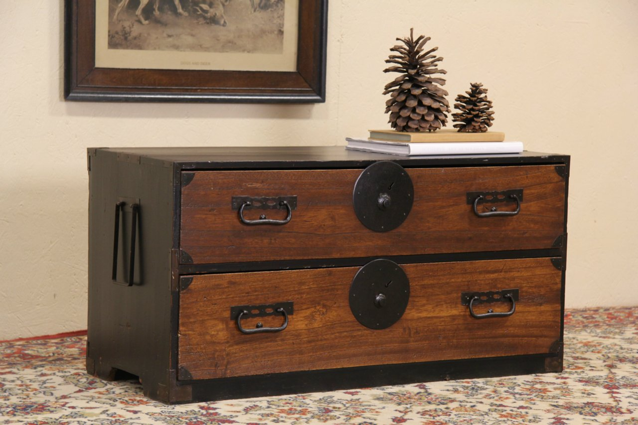photo 1 Tansu Japanese Antique ... - SOLD - Tansu Japanese Antique Low Chest Coffee Table #1 - Harp