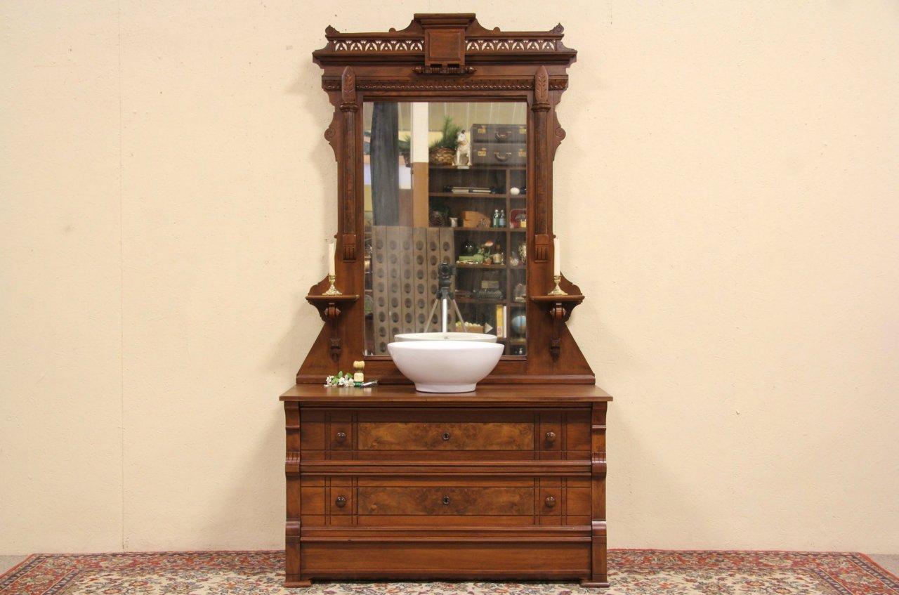 Victorian 1880 Antique Dresser Or Vessel Sink Vanity, Secret Drawer U0026 Mirror