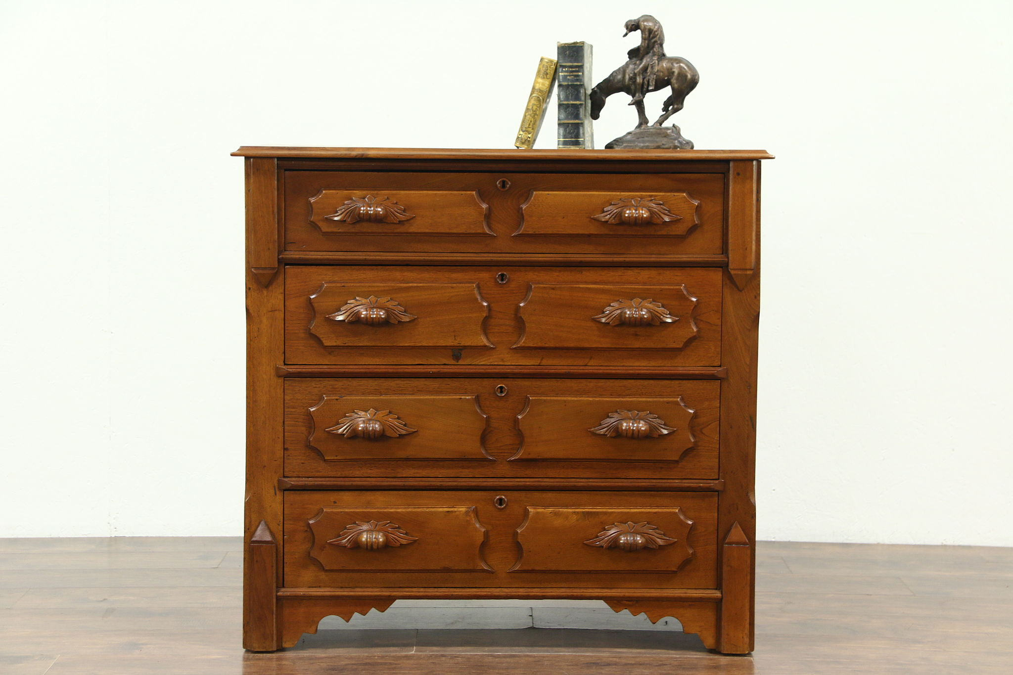 Victorian Antique 1870 Walnut Chest Or Dresser Carved