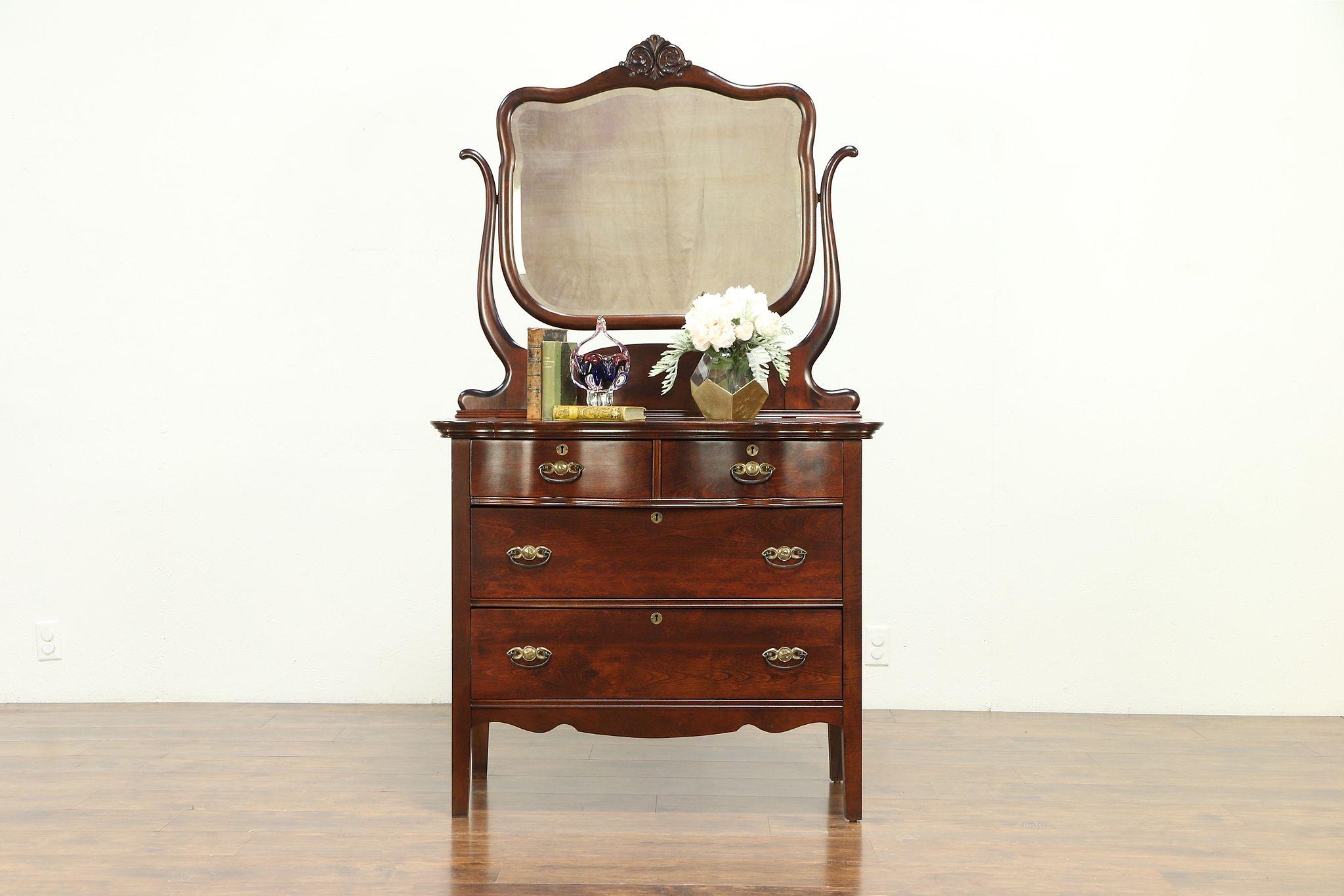 Victorian Antique 1900 Chest Or Dresser Beveled Swivel Mirror
