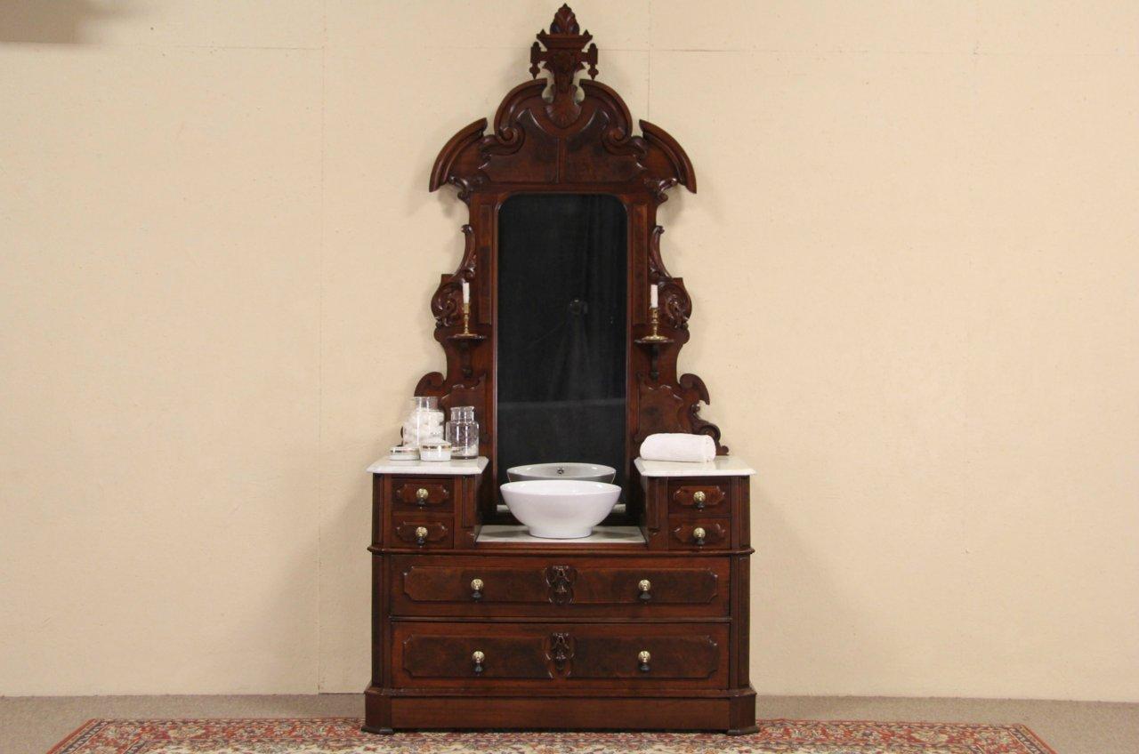 Victorian 1870 Antique Marble Top Chest Or Dresser Mirror