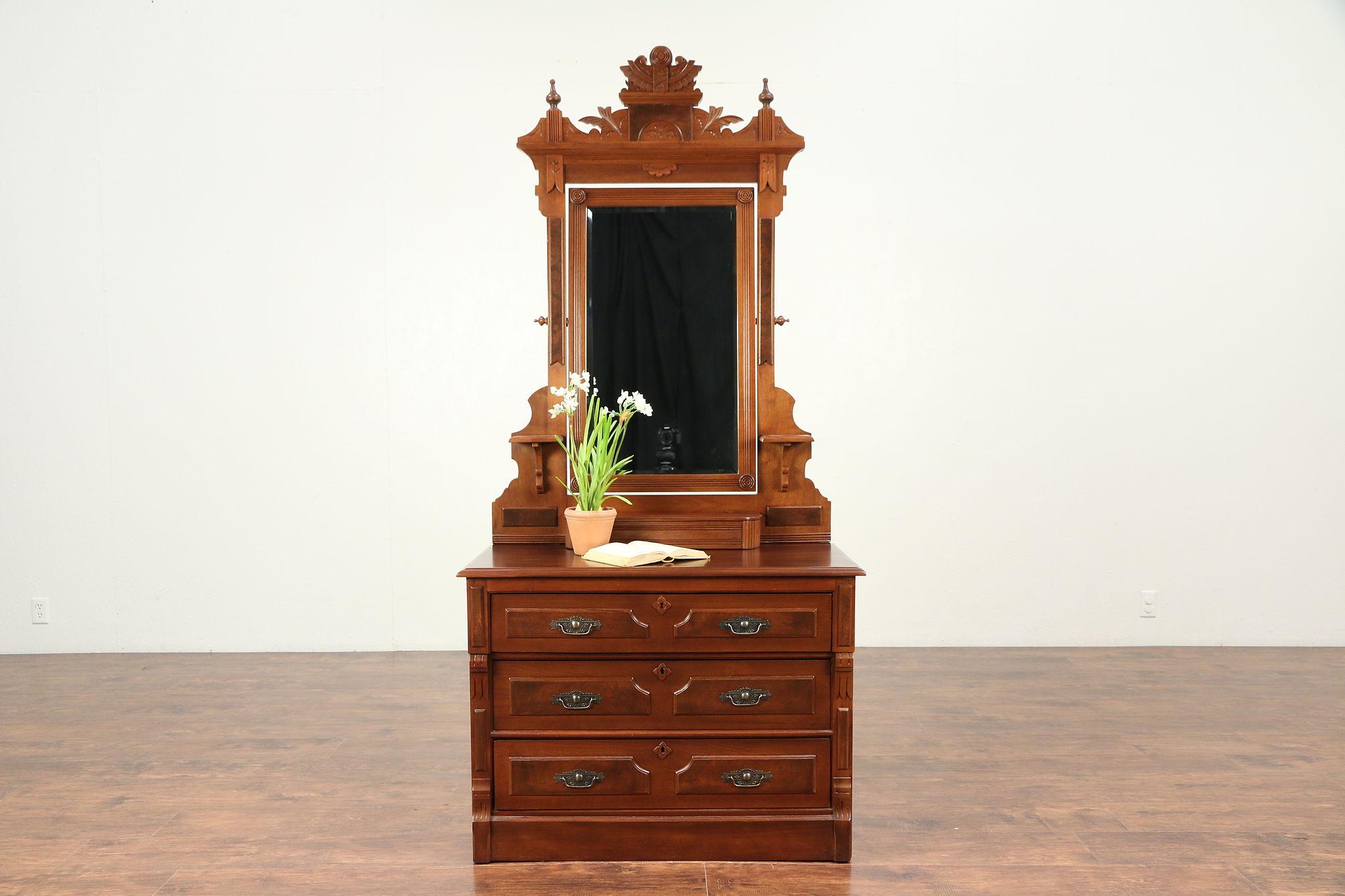 Victorian Eastlake Walnut Antique Dresser, Swivel Mirror, Jewelry Box #21590