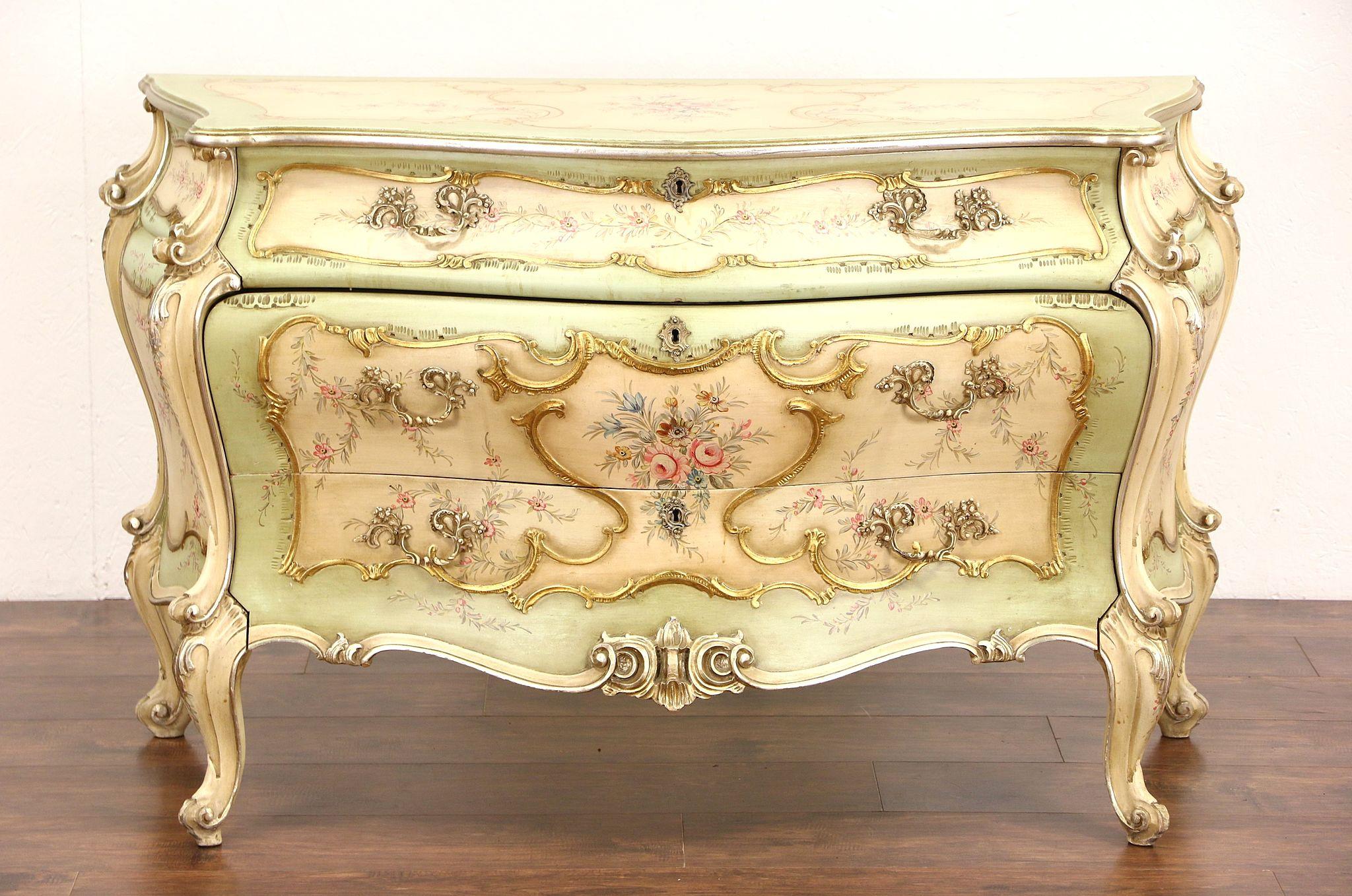 Sold Venetian Hand Painted Baroque Design Vintage