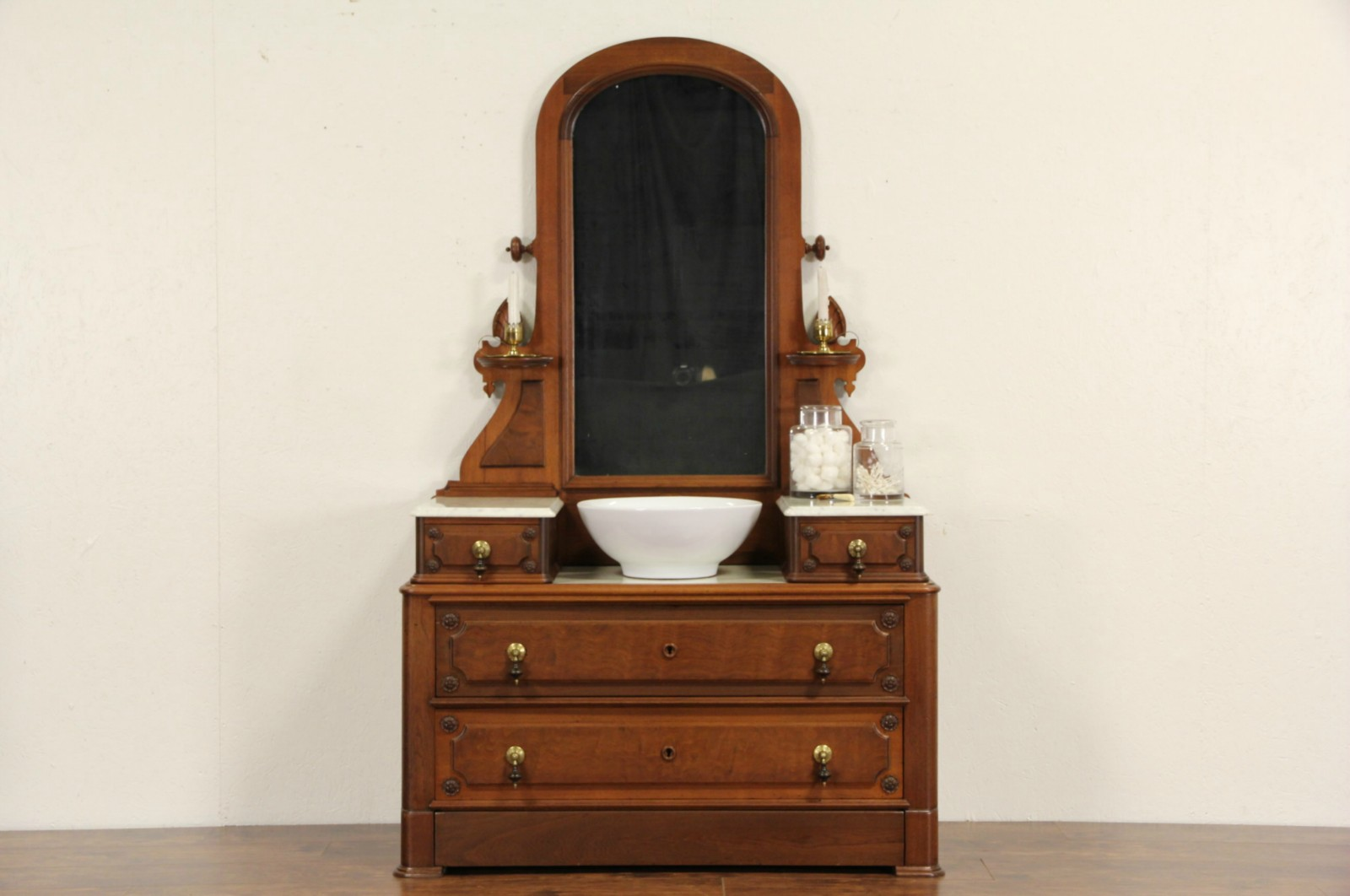Victorian 1870 Antique Marble Top Dresser Or Chest Mirror Secret Drawer