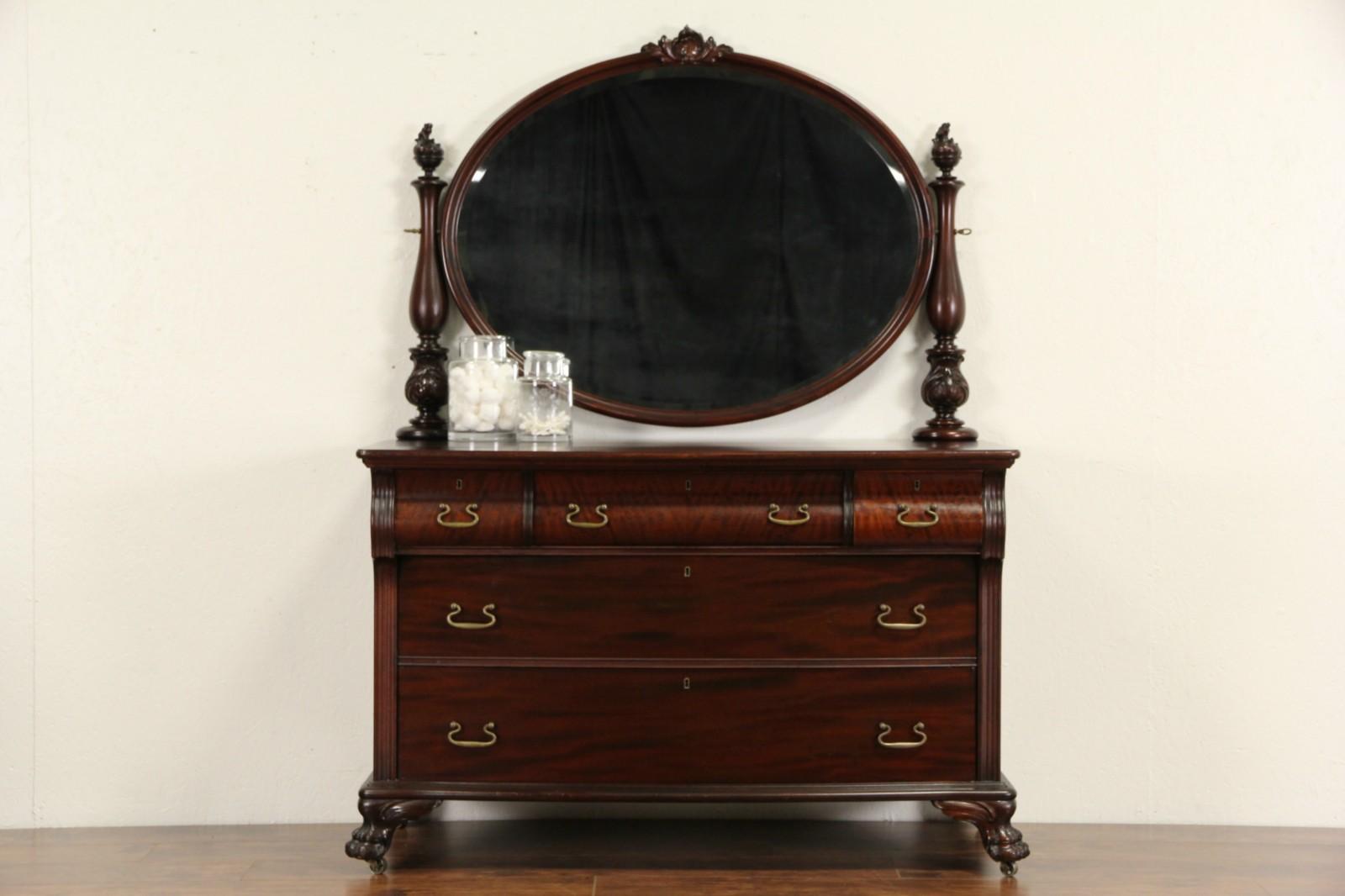 Mahogany 1910 Antique Empire Dresser Or Chest Beveled Mirror