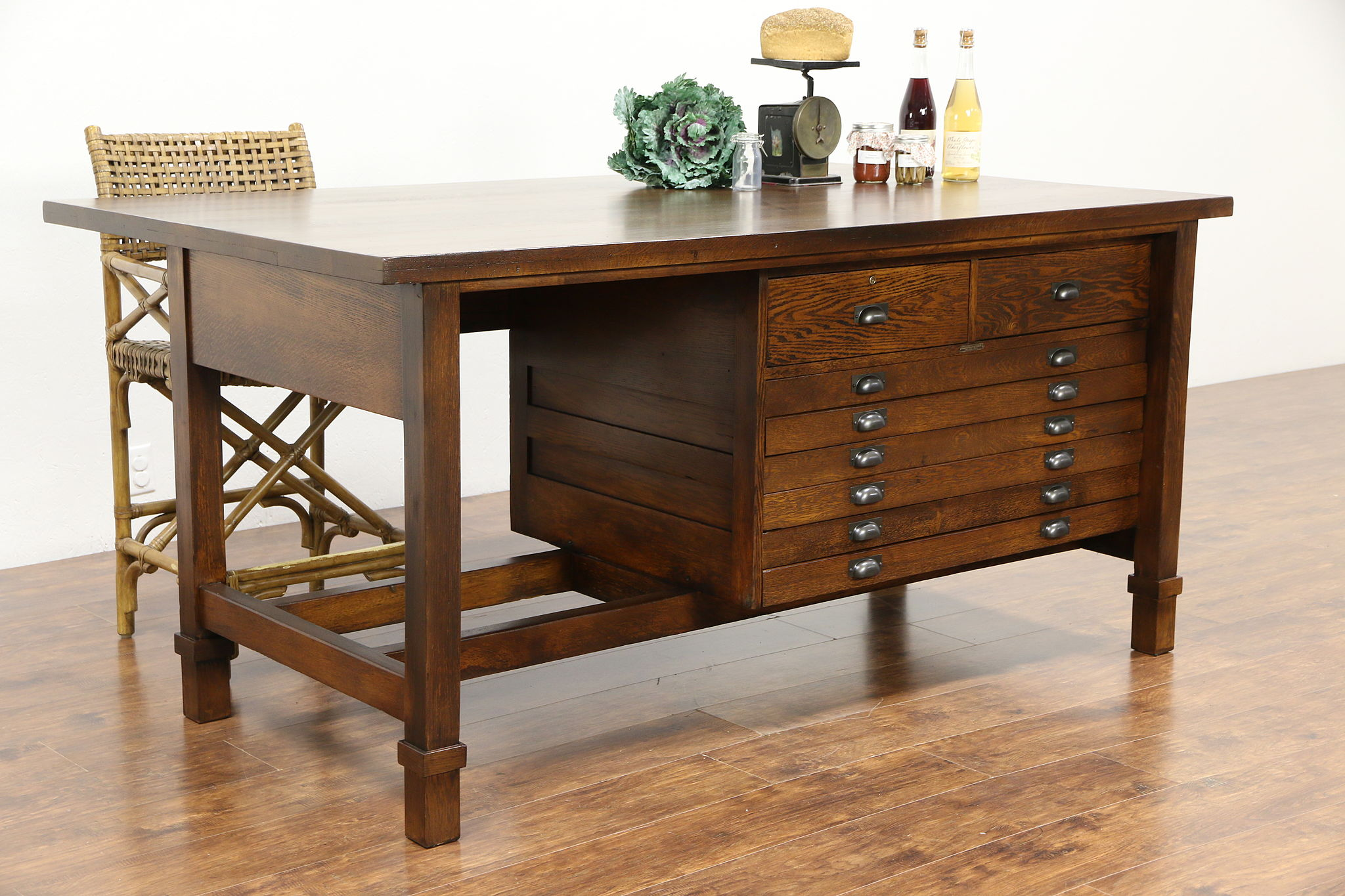 Sold Oak 1920 Antique Architect Drafting Table Kitchen Counter Island Harp Gallery Antiques Furniture