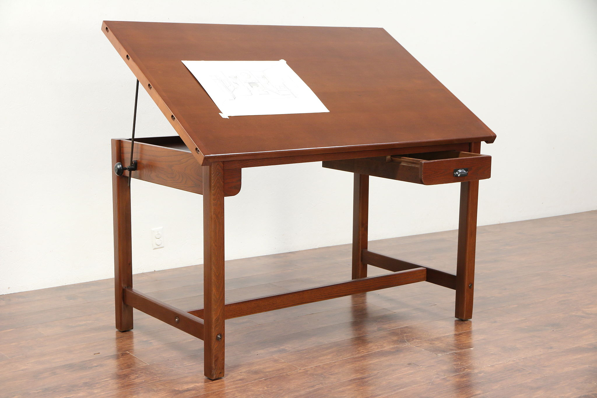 Sold Architect Or Artist Desk Vintage Drafting Or Wine Table Kitchen Island 29756 Harp Gallery Antiques Furniture