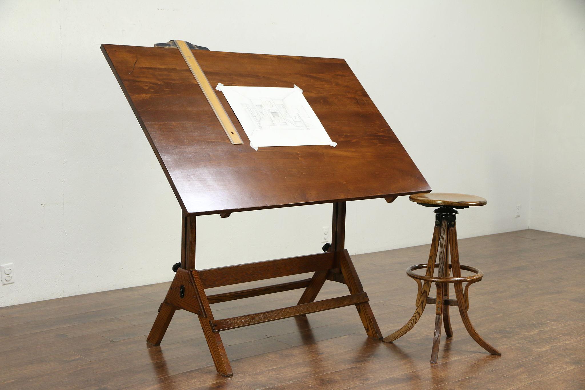 Sold Drafting Or Artist Vintage Desk Kitchen Island Wine Table Hamilton 30177 Harp Gallery Antiques Furniture