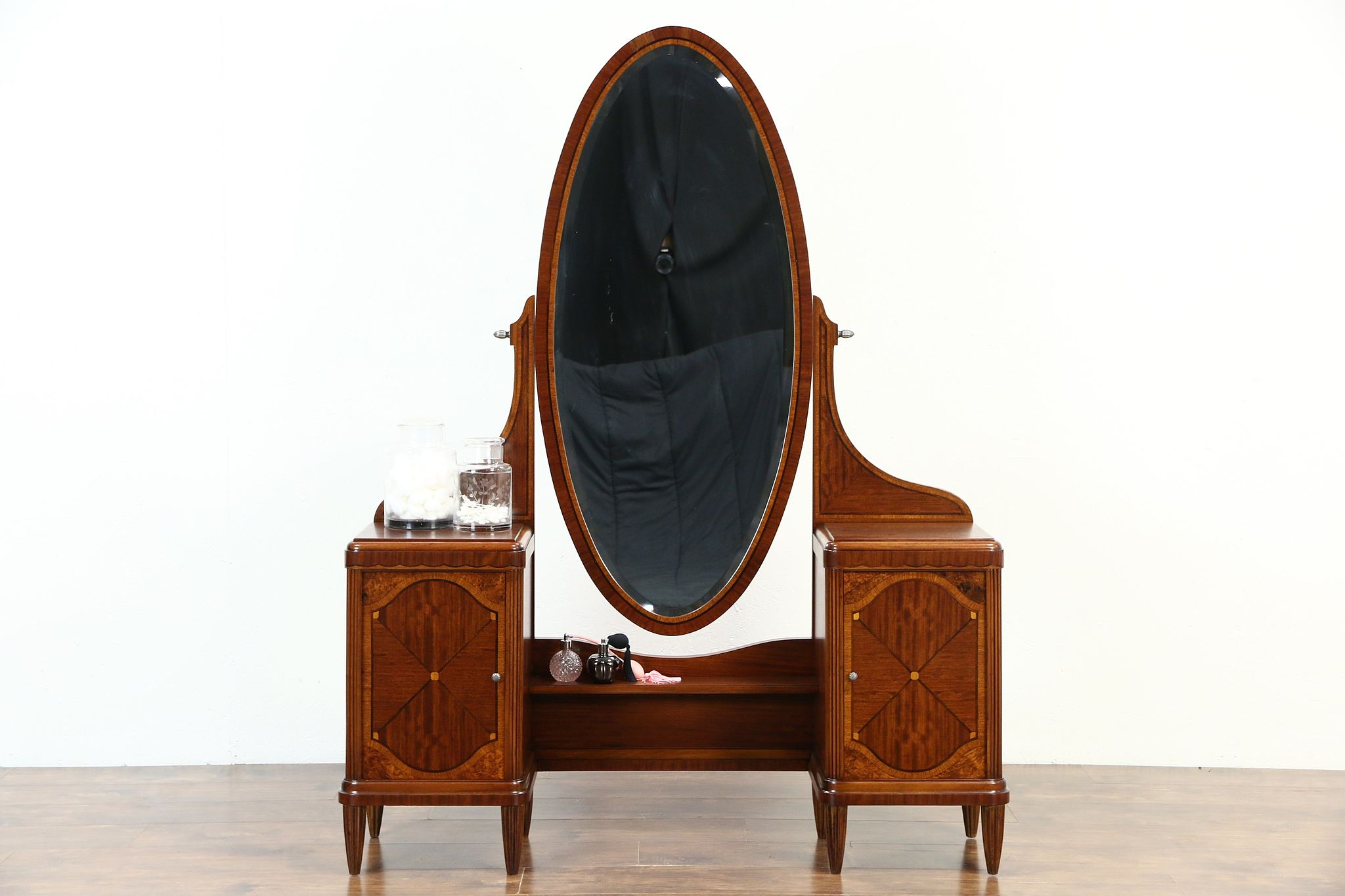 74d458120c7 SOLD - Vanity or Dressing Table   Mirror 1925 English Art Deco Rosewood  Marquetry - Harp Gallery