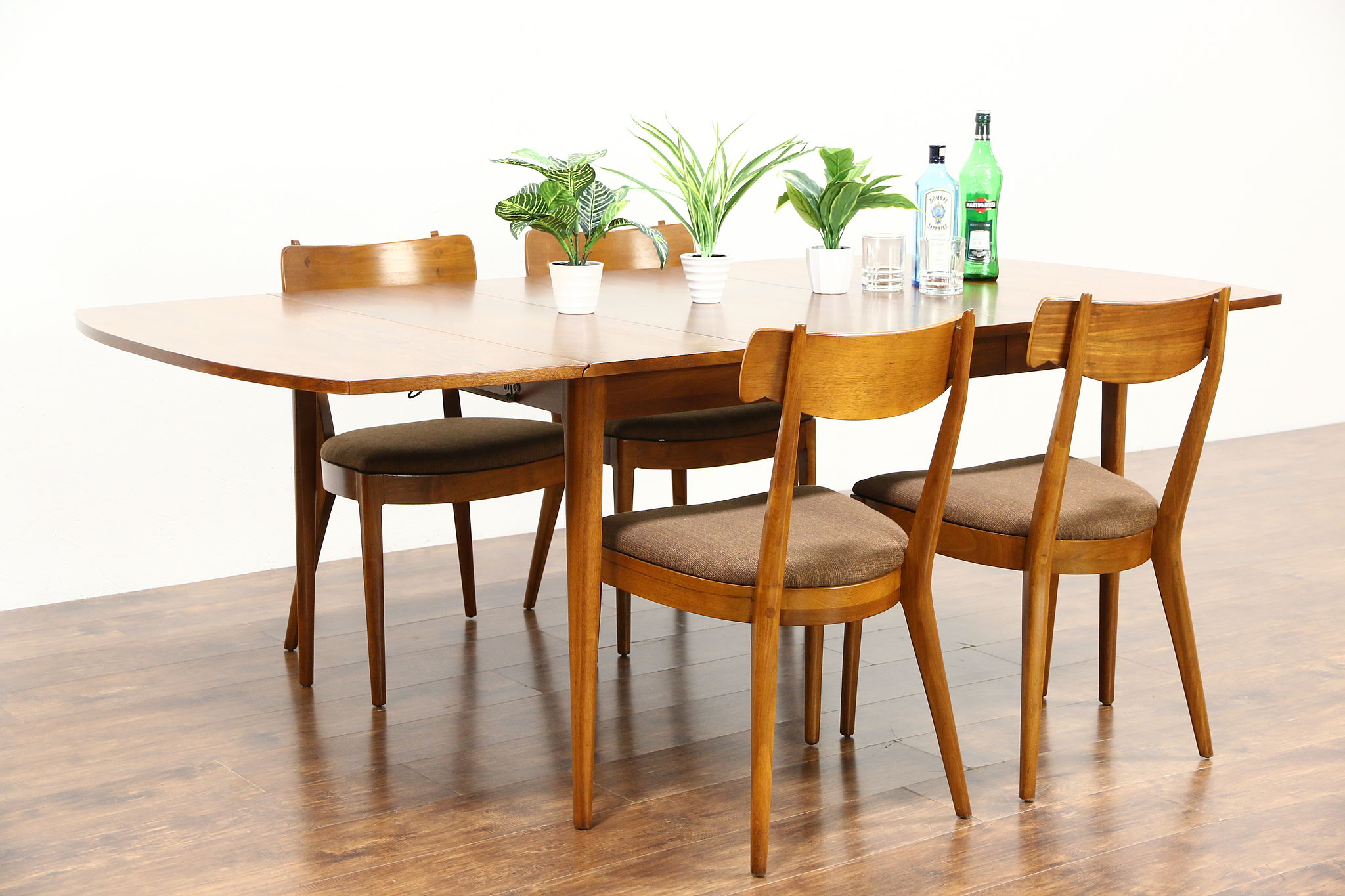 Midcentury Modern 1960 S Vintage Dining Set Table Leaf 4 Chairs Drexel Photo