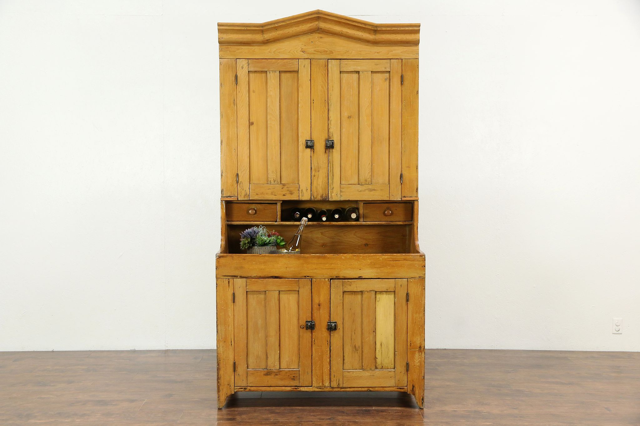 Country Pine Primitive 1870 Antique Kitchen Pantry Cupboard & Dry