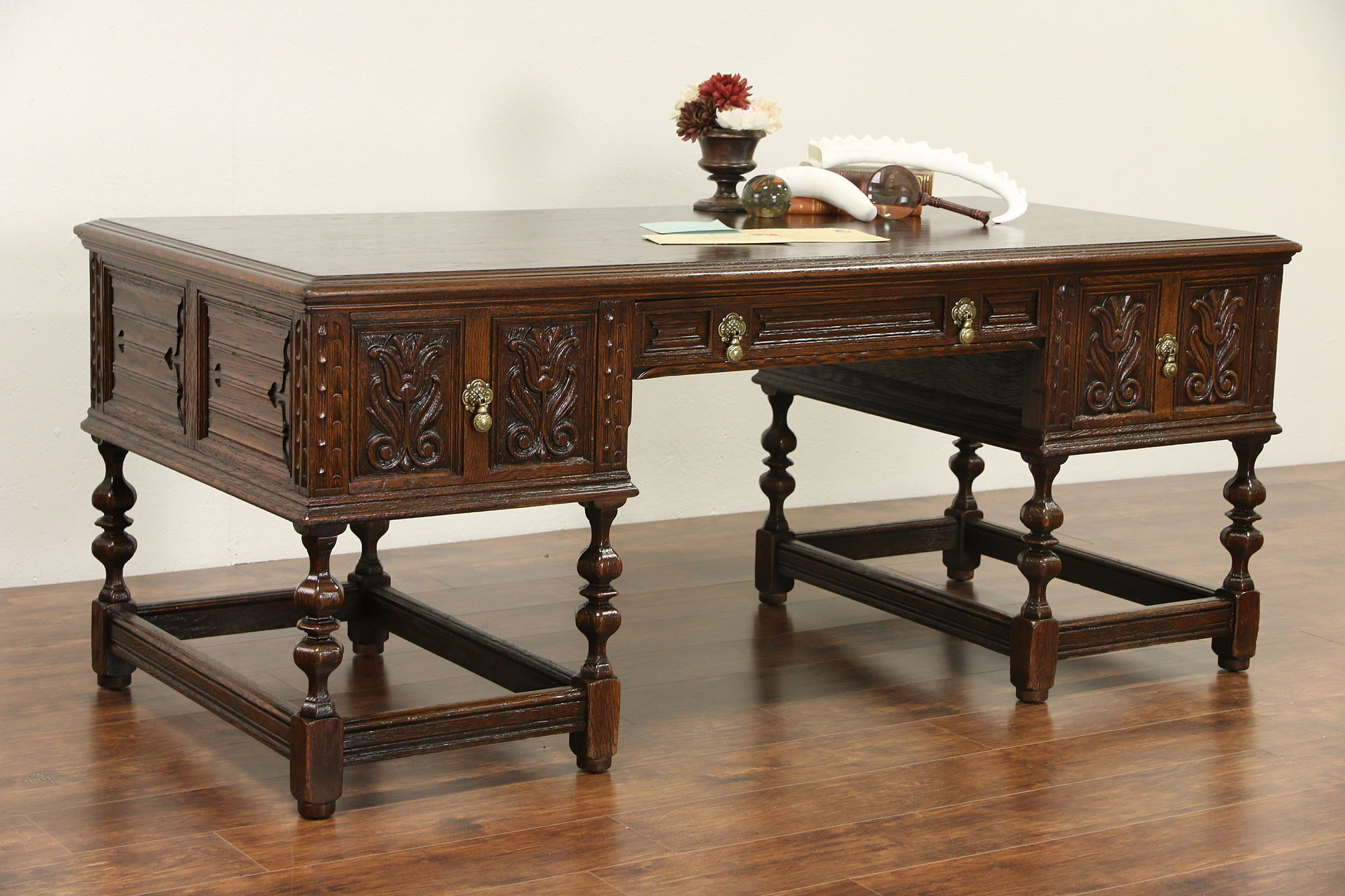 SOLD   Oak Tudor Carved 1920 Antique Library Or Executive Desk, Signed  Royal By Irwin   Harp Gallery
