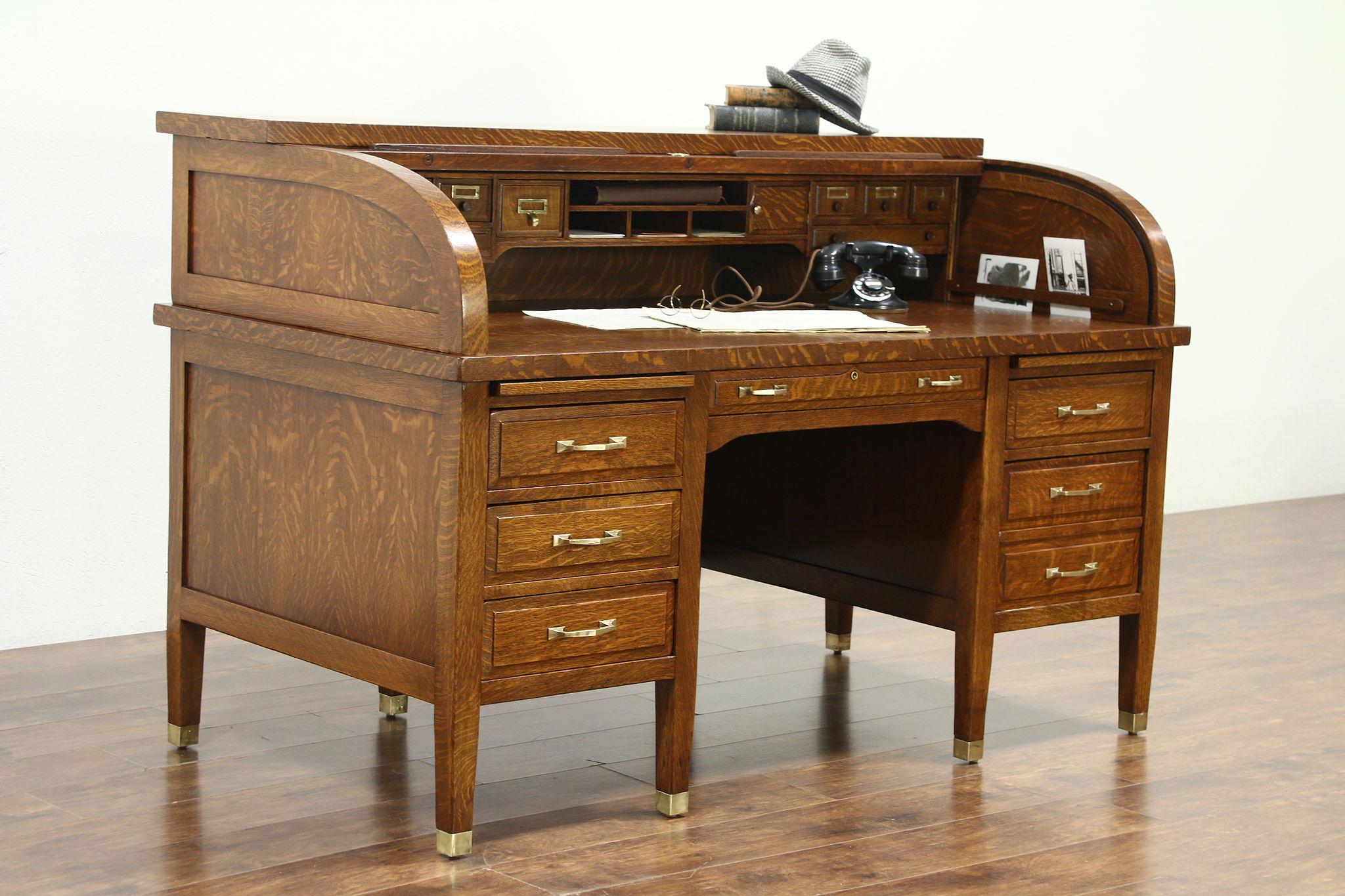Oak Quarter Sawn Antique 1900 Library Rolltop Desk Signed Standard
