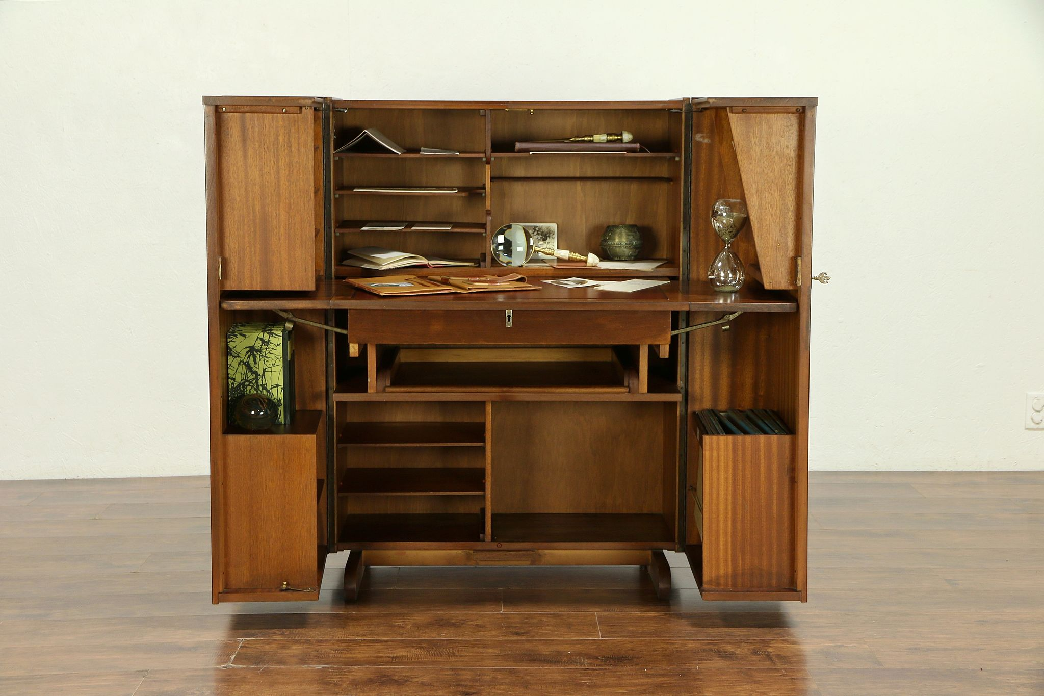 24a09c3c176 SOLD - Midcentury Modern 1960 Vintage English Rosewood Cabinet Desk Home  Office  30301 - Harp Gallery