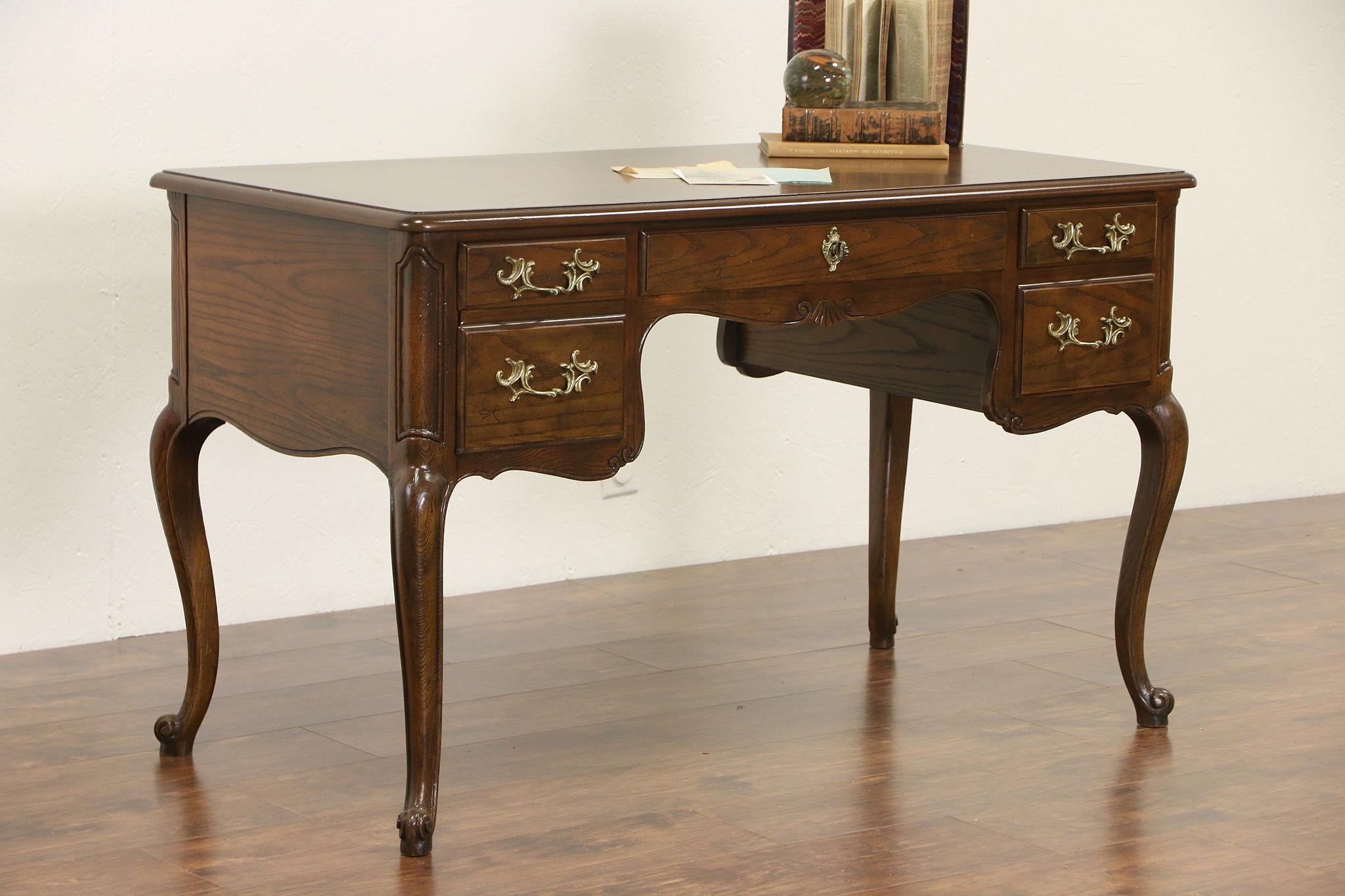 Baker Signed Country French Vintage Writing Desk Oak Olive Ash Burl