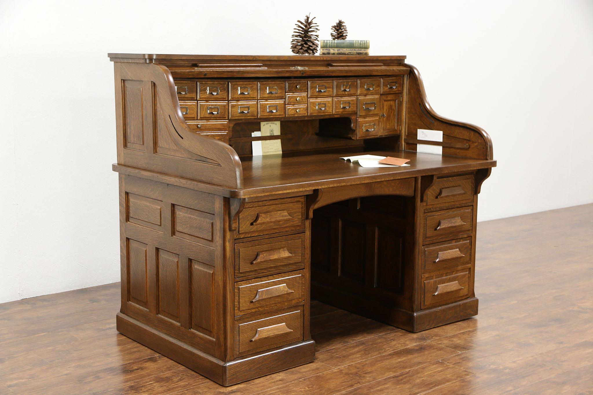Raised Panel 1900 Antique Quarter Sawn Oak S Roll Top Desk