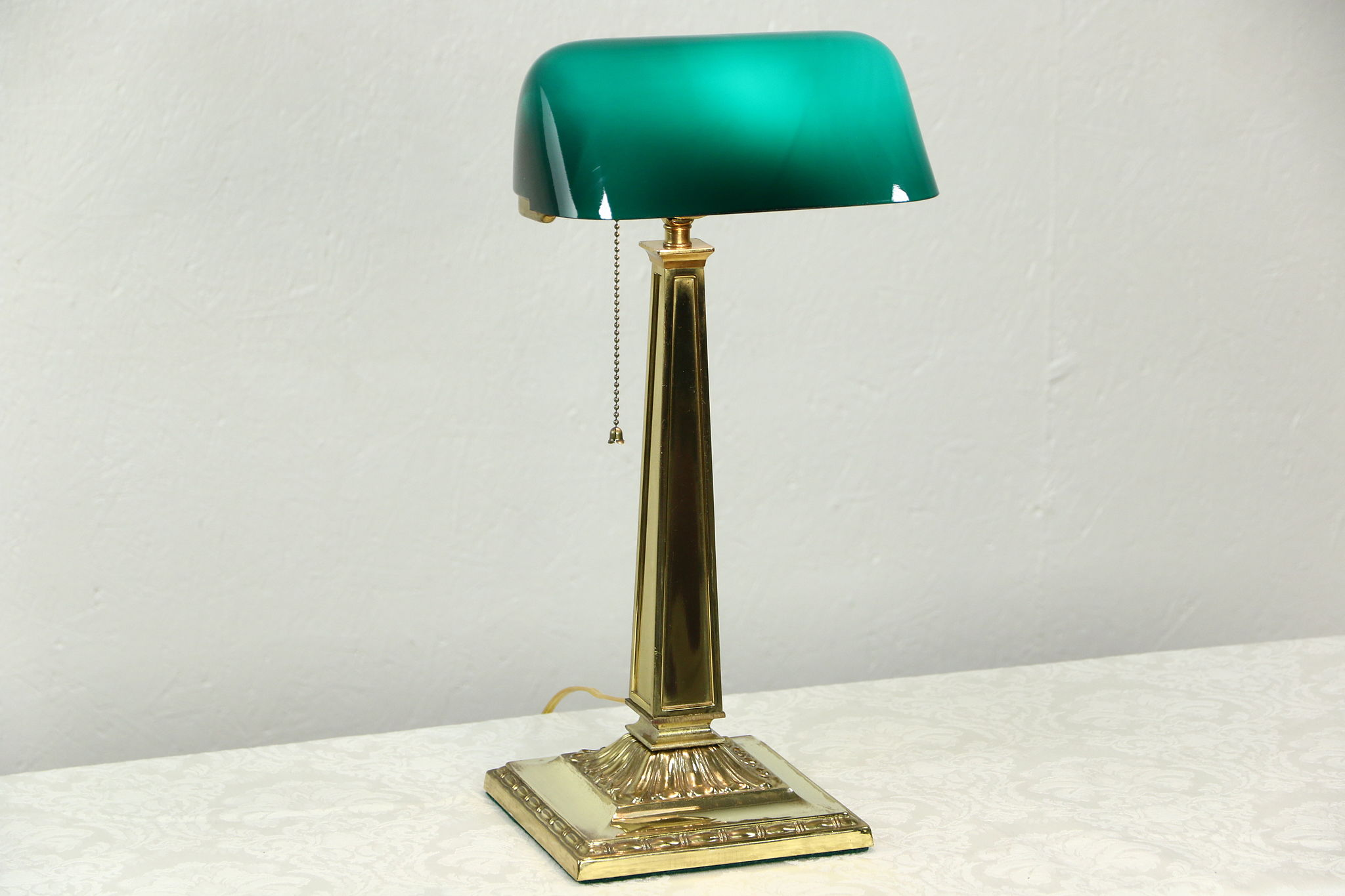 Sold Emeralite Signed Antique Desk Lamp Emerald Cased Glass Shade