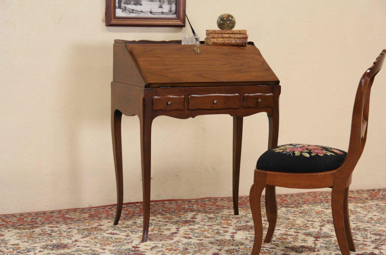 Sold Vintage Walnut Secretary Desk Secret Compartment