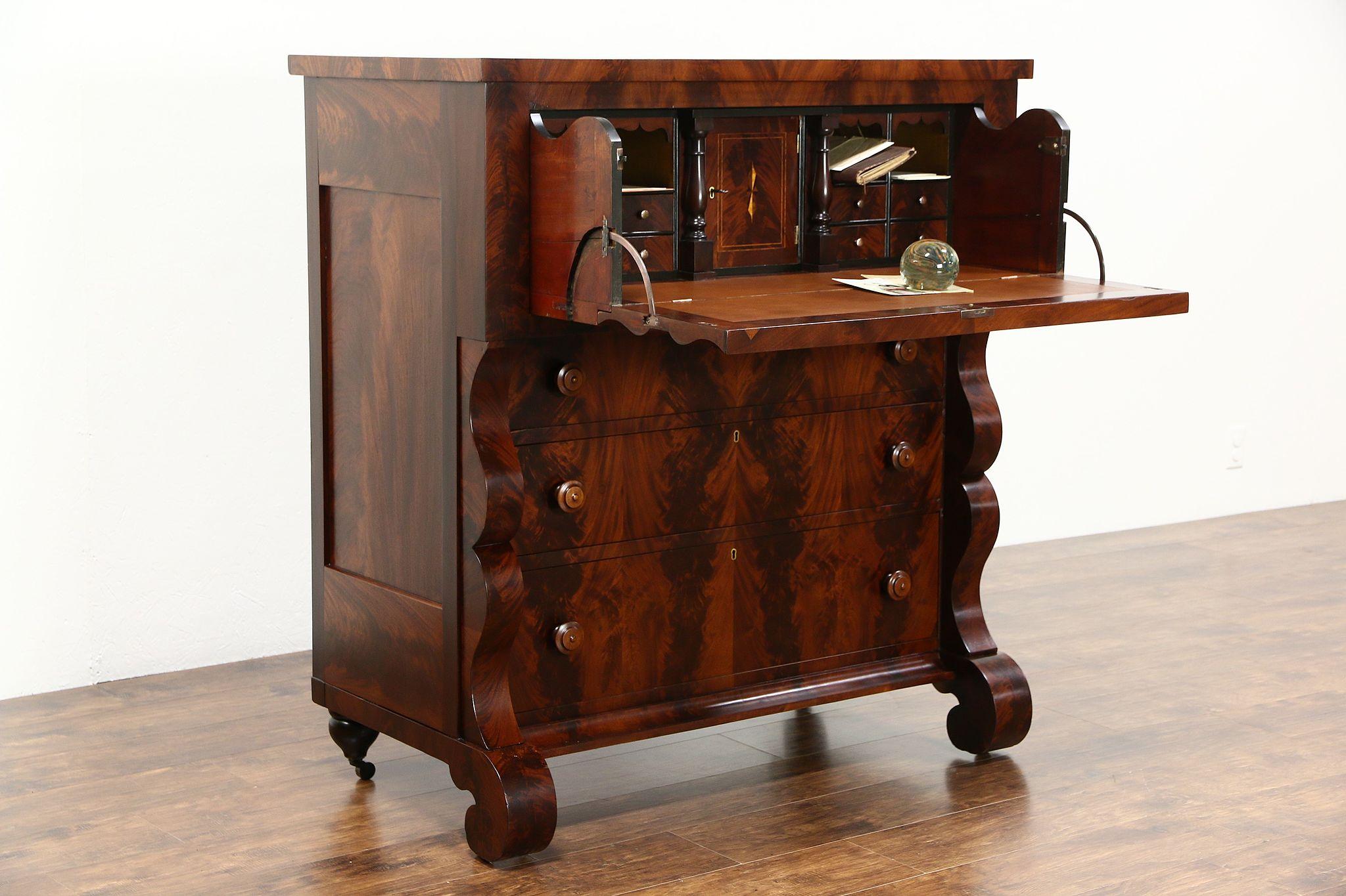Charmant Empire Mahogany 1835 Antique Butler Secretary Desk, Secret Compartments