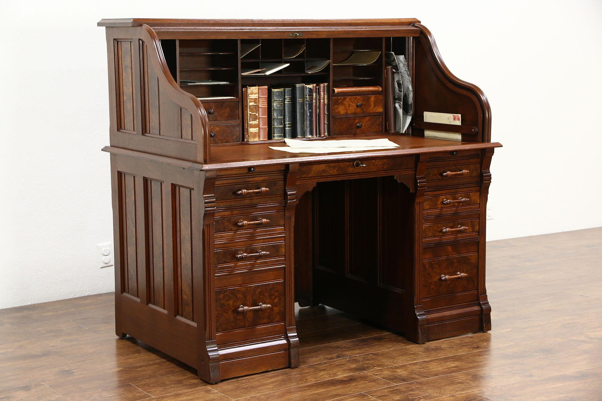 Victorian 1885 Antique Walnut Burl S Curve Roll Top Desk 55 Wide