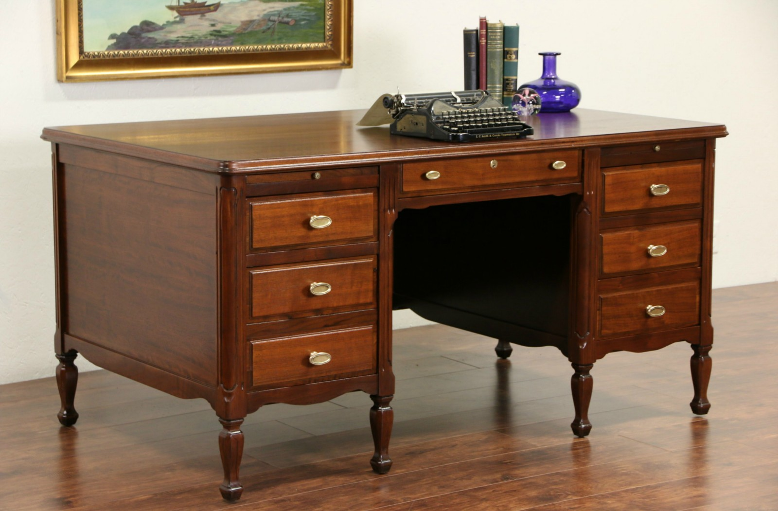 sold - clemco signed executive walnut 1930's vintage library or