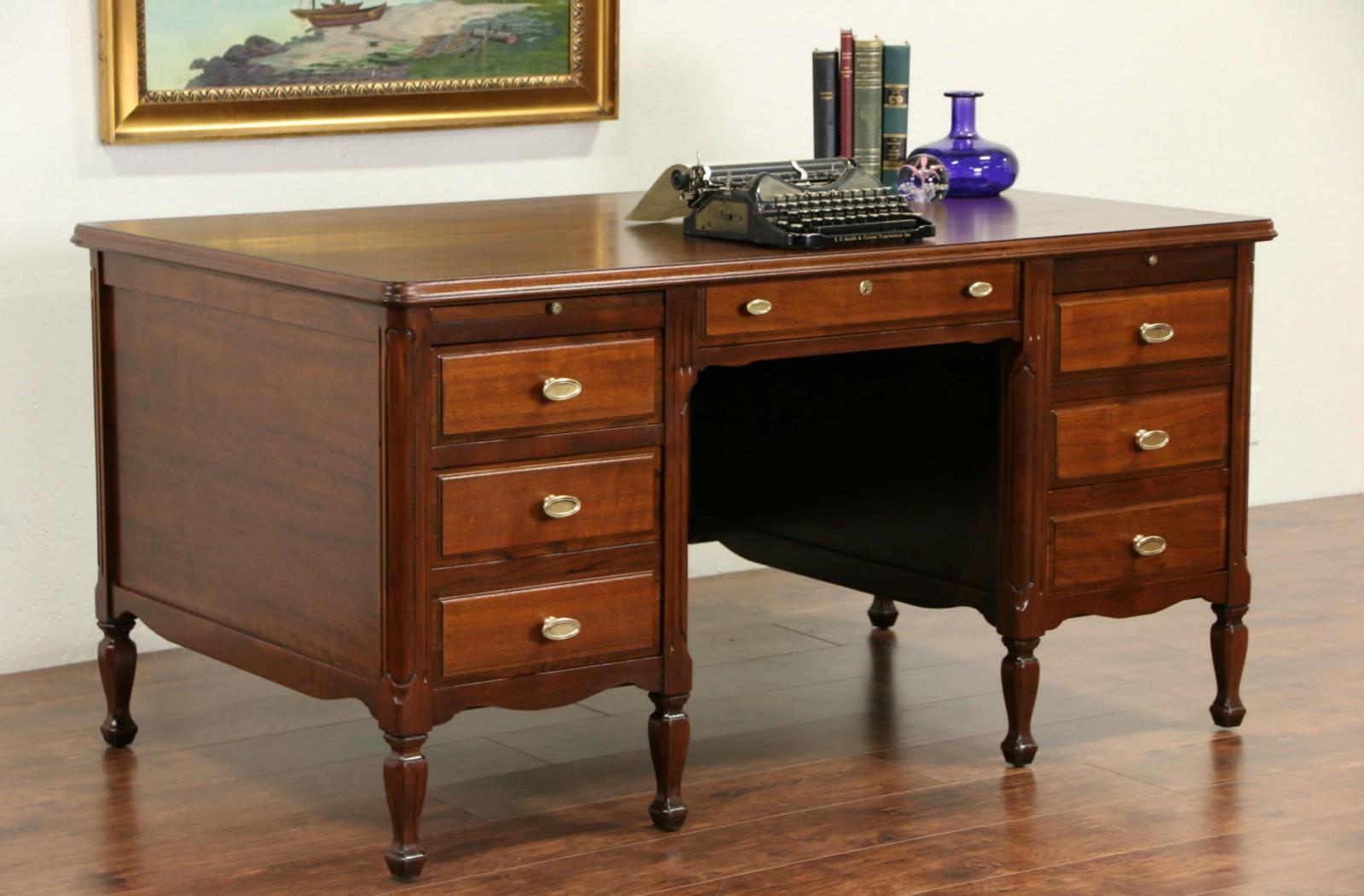 vintage office desks. photo 1 clemco signed executive walnut 1930u0027s vintage library or office desk desks