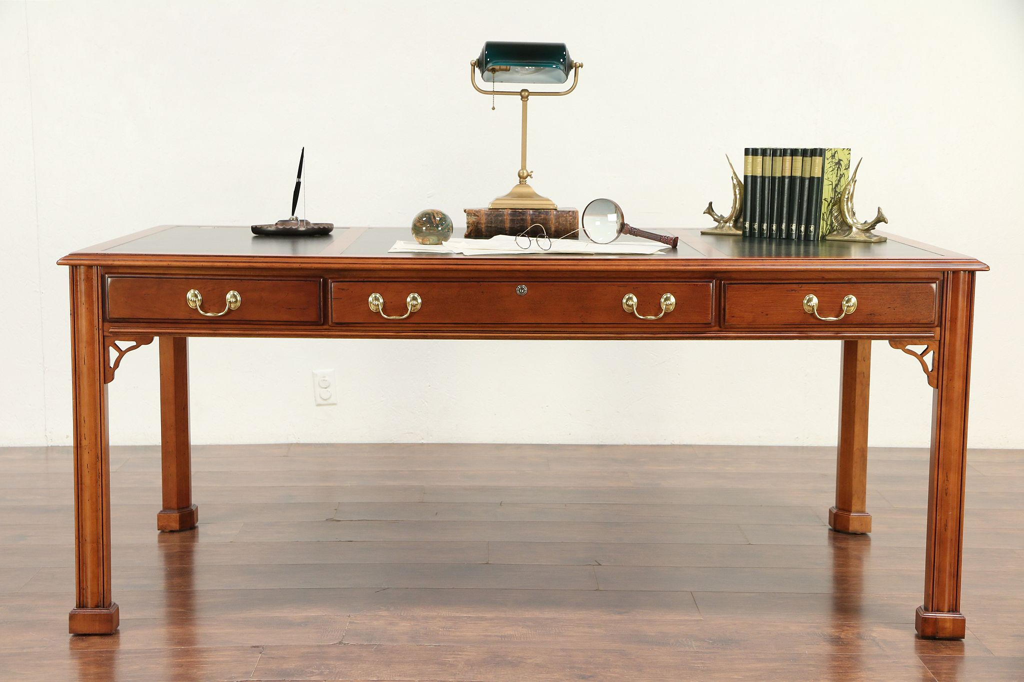 Cherry Vintage Library Writing Desk Tooled Leather Signed
