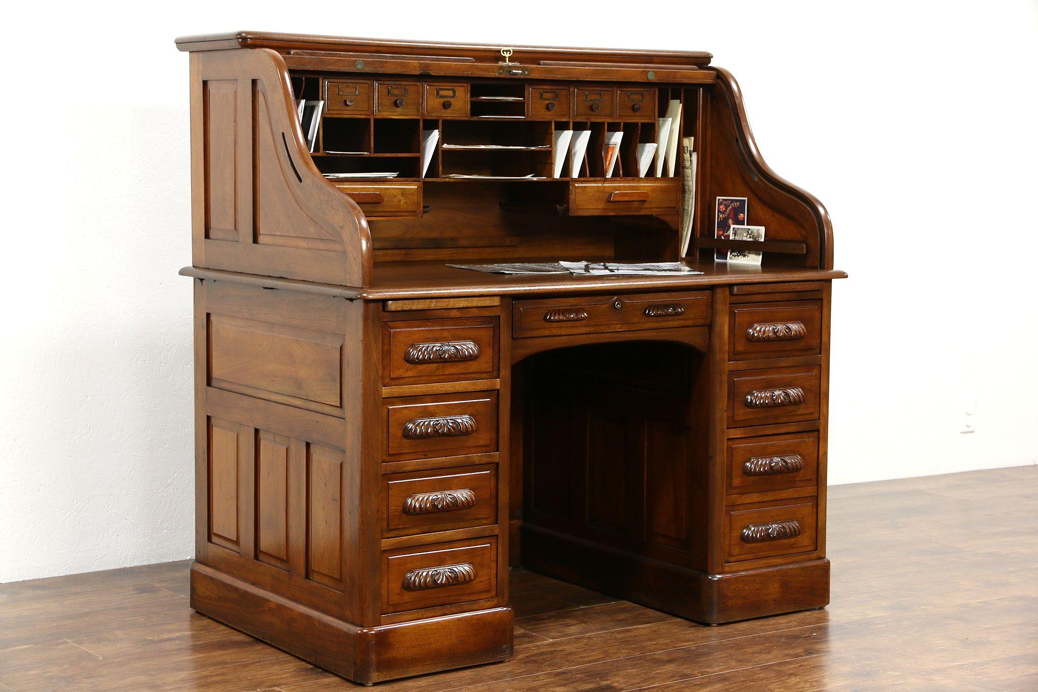 Sold Walnut S Curve 1895 Antique Rolltop Desk Carved Pulls