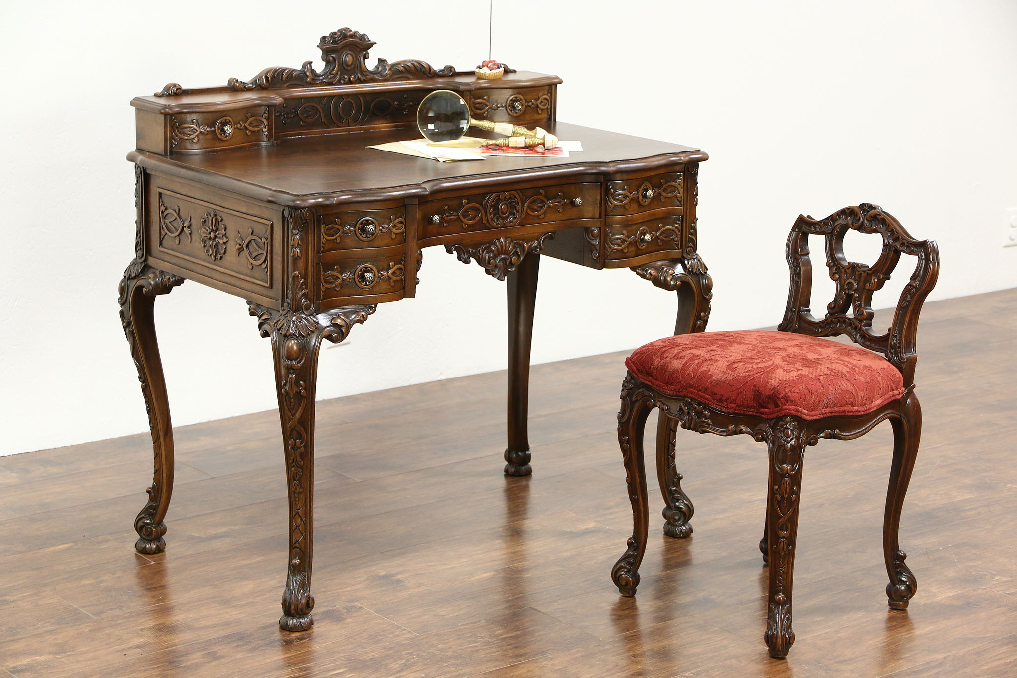 Photo 1 French Style Antique Carved Writing Desk