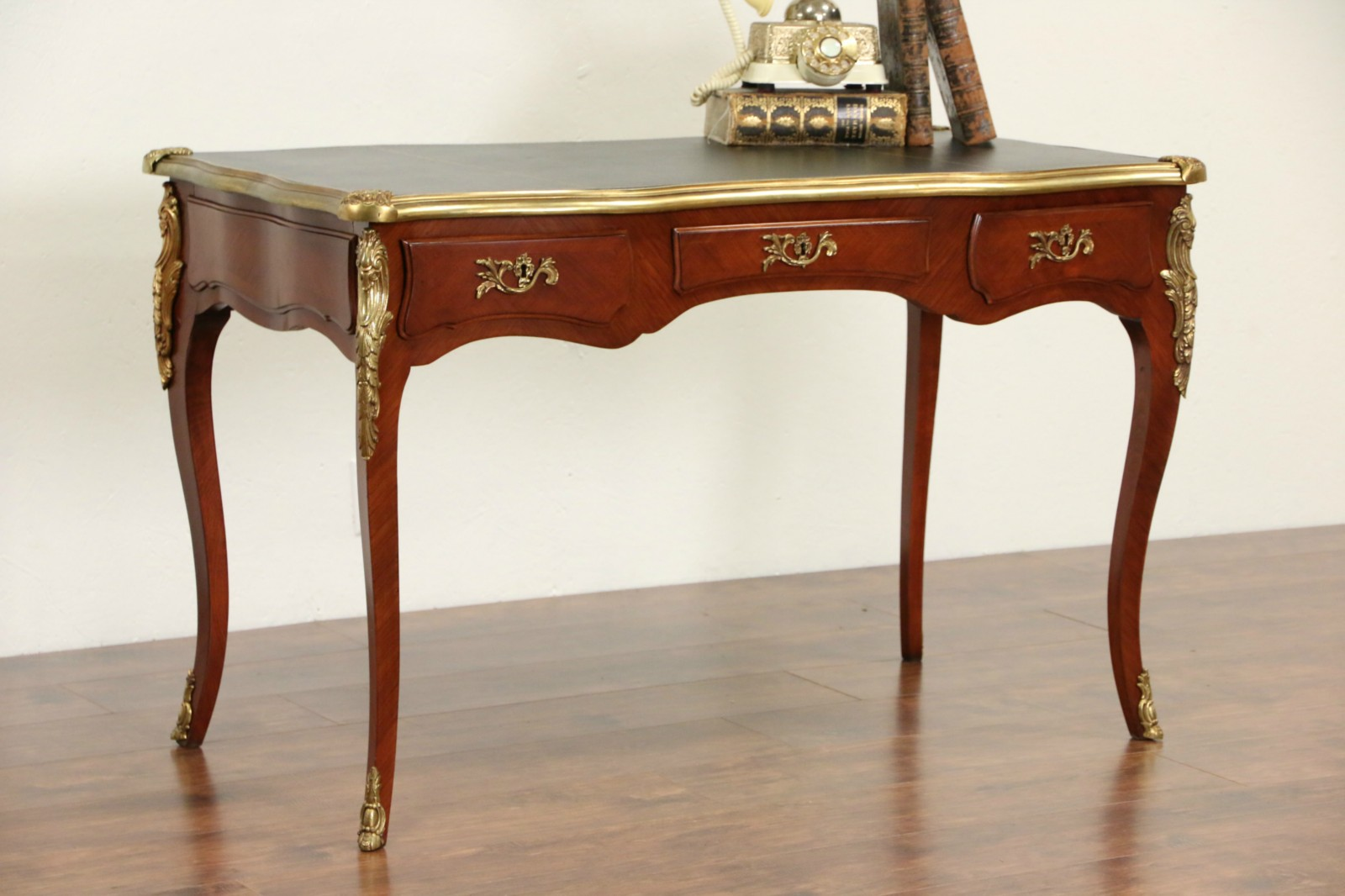 French Library Writing Desk 1950 S Vintage Leather Top Brass Mounts