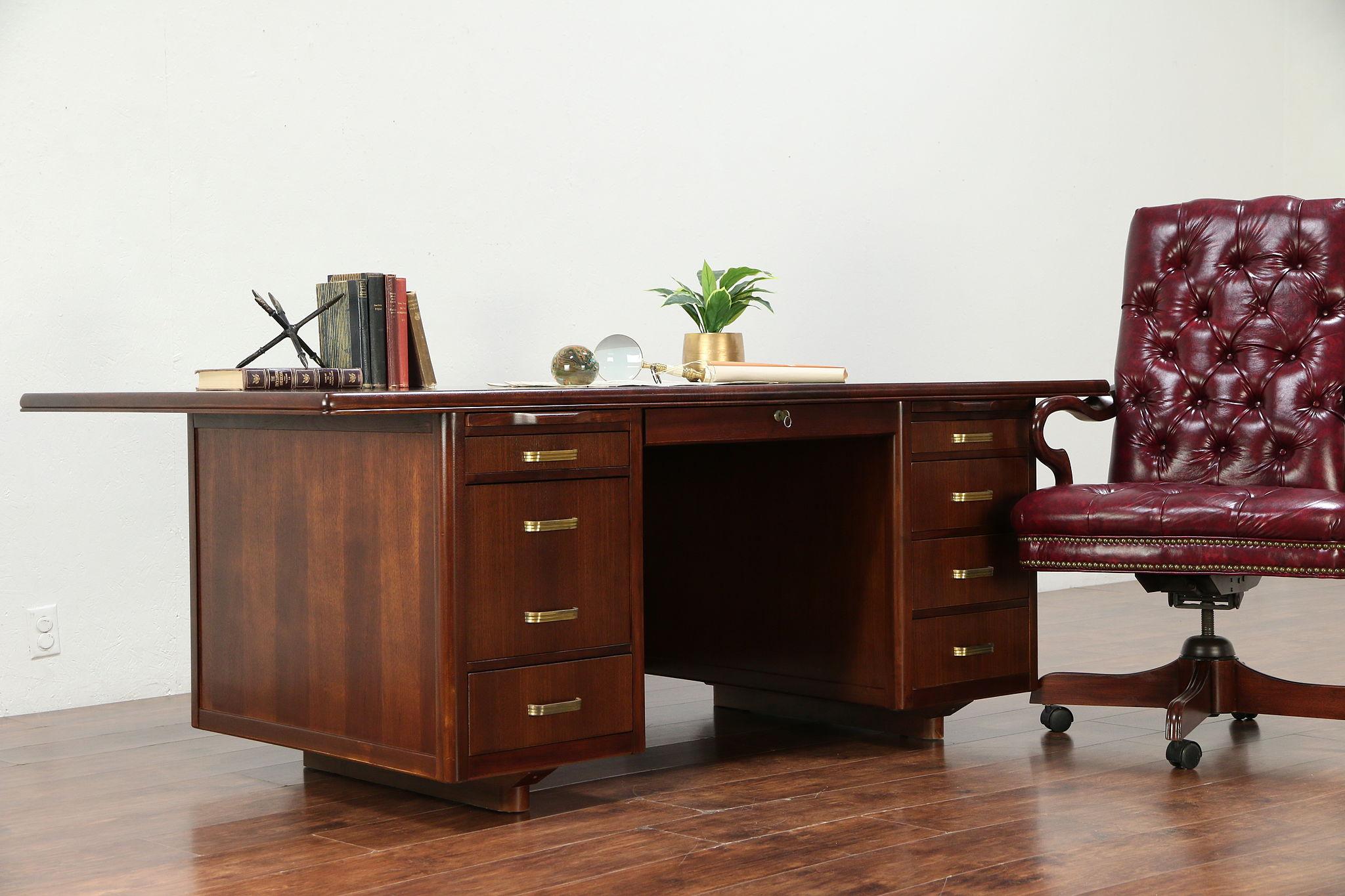 Midcentury Modern 40 Vintage Conference Size Executive Desk, Leopold  #40