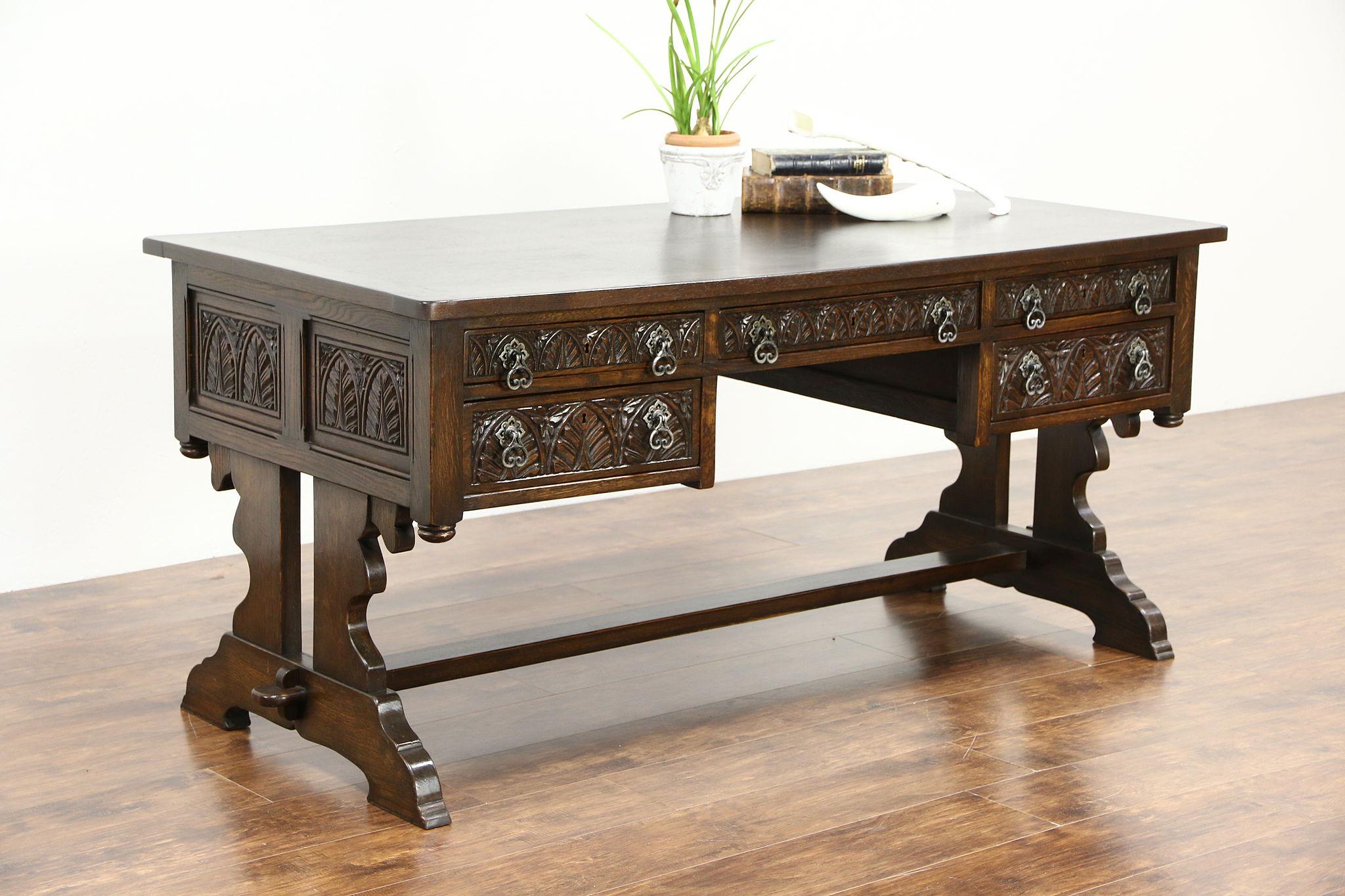 Brand-new SOLD - Oak 1910 Antique Renaissance Carved Library Writing Desk  TU48