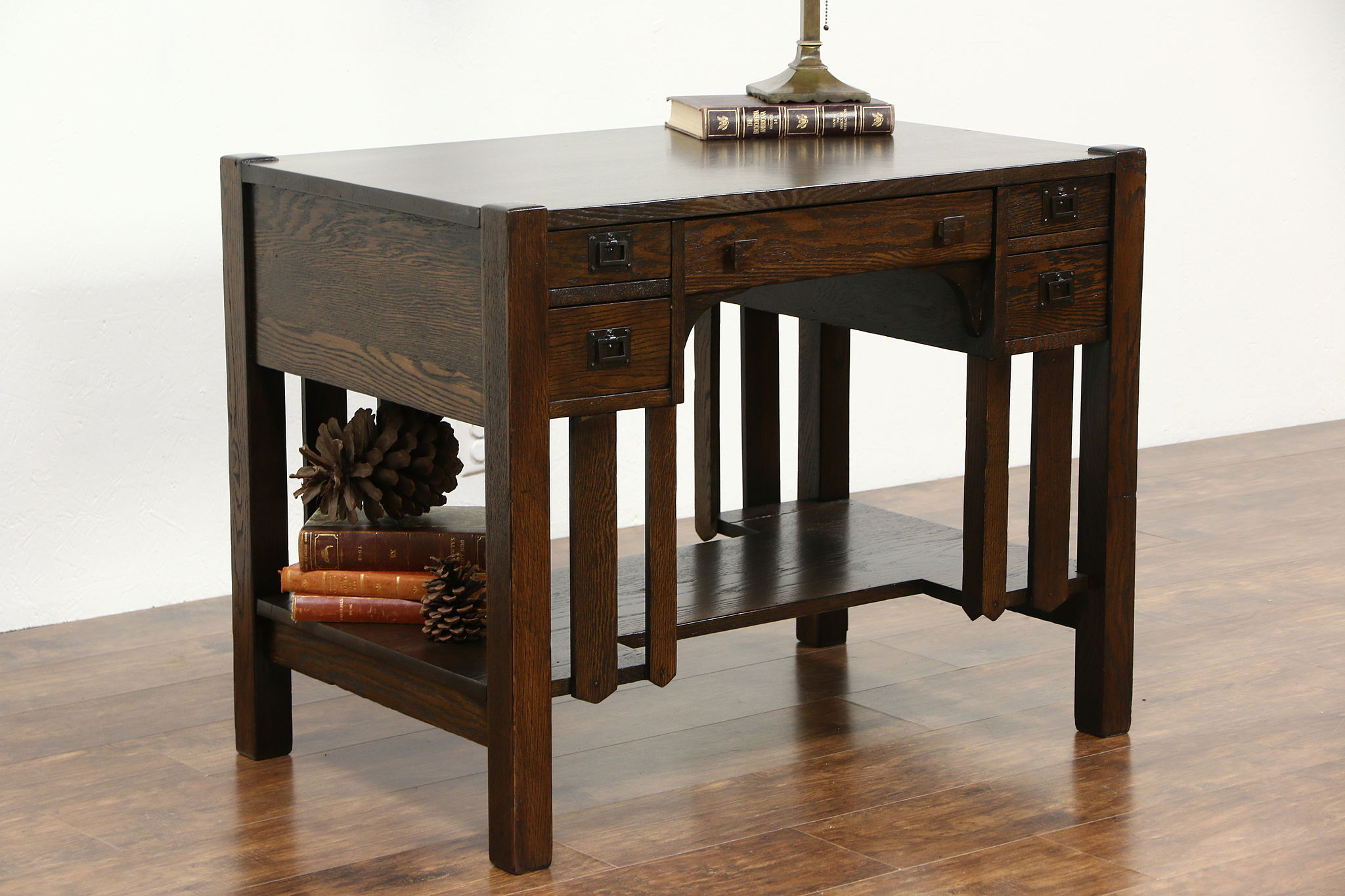 Arts and crafts tables - Arts Crafts Mission Oak 1905 Antique Library Table Writing Desk Bookshelf Ends