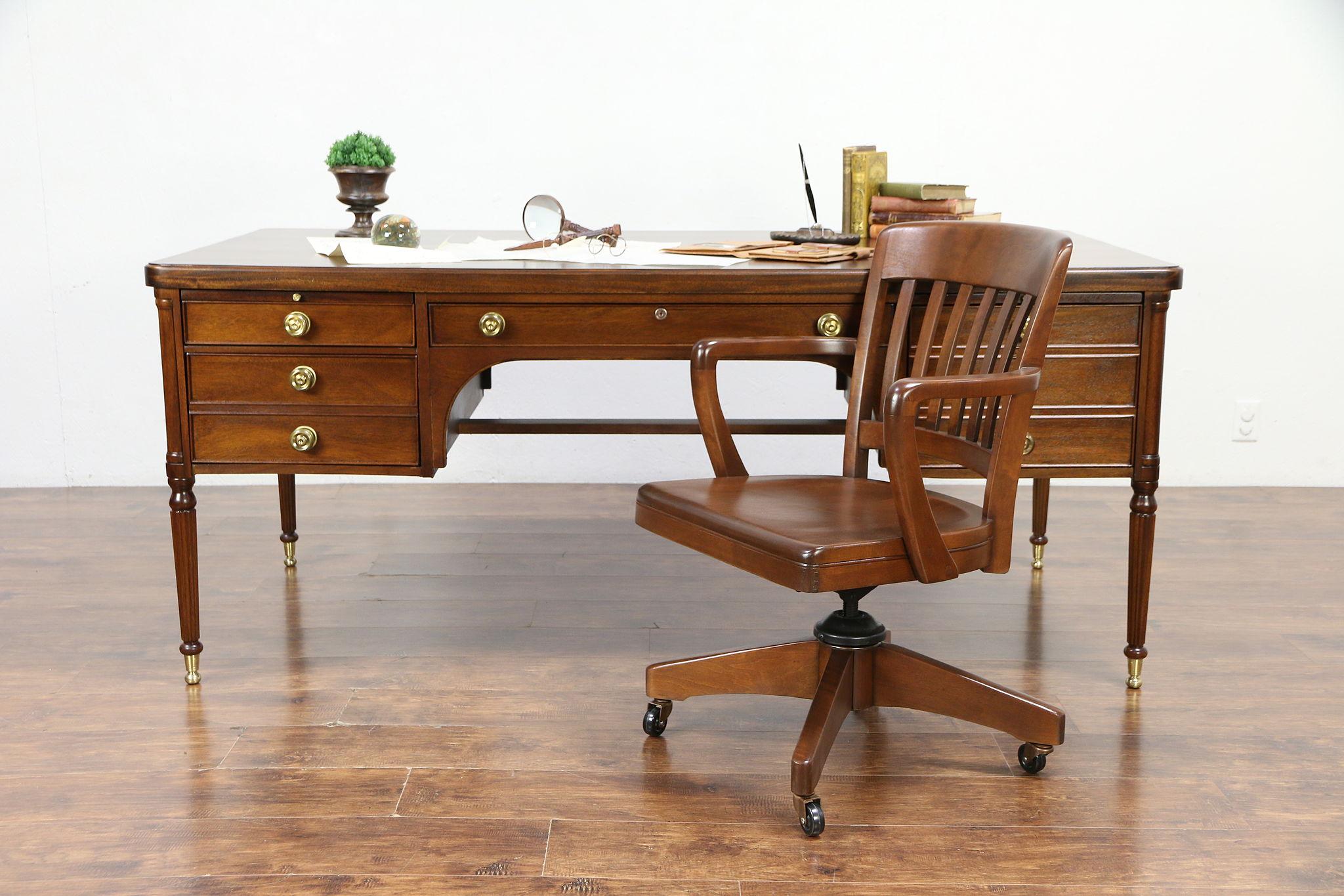 Bon Washington Vintage 6u0027 Mahogany Executive Library Or Office Desk, Rway  #30171 Photo