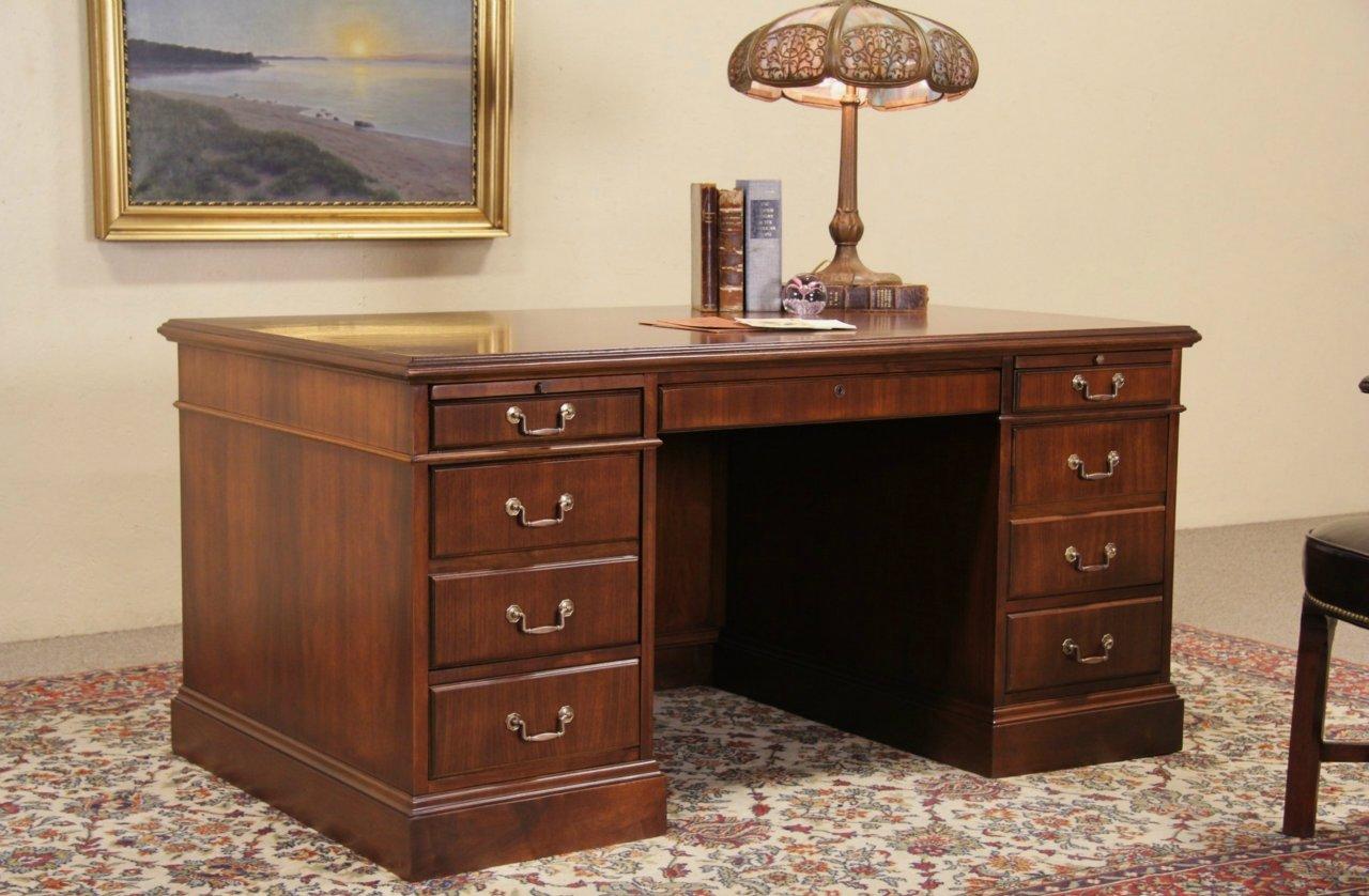 Jofco Walnut Traditional Vintage Executive Desk - SOLD - Jofco Walnut Traditional Vintage Executive Desk - Harp Gallery