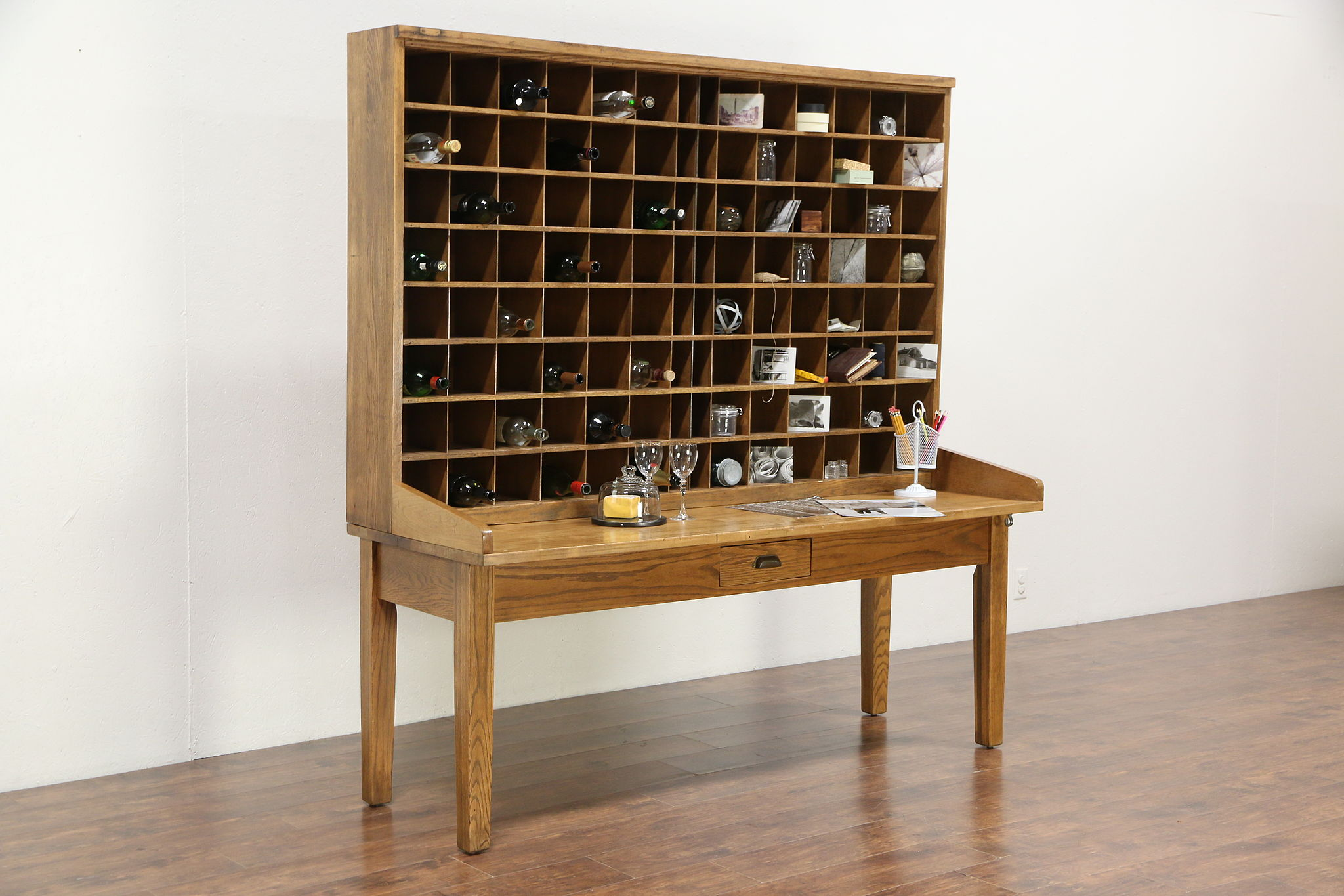 Post Office Antique Oak Mail Sorting Table, Wine Rack
