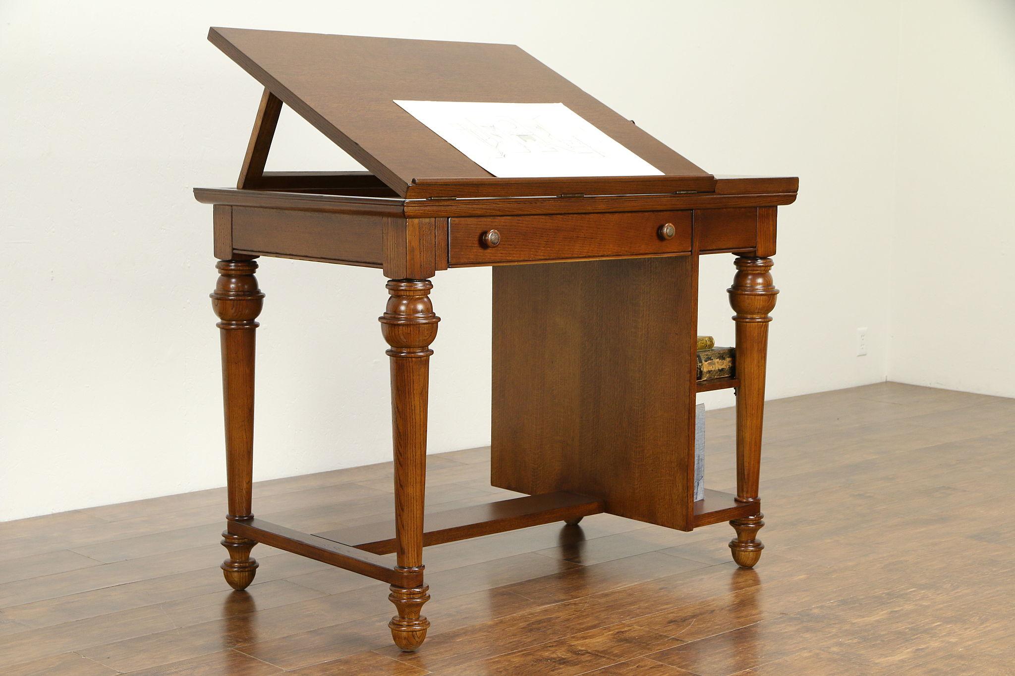 Sold Oak Vintage Drafting Architect Artist Desk Kitchen Island Wine Table 32670 Harp Gallery Antiques Furniture