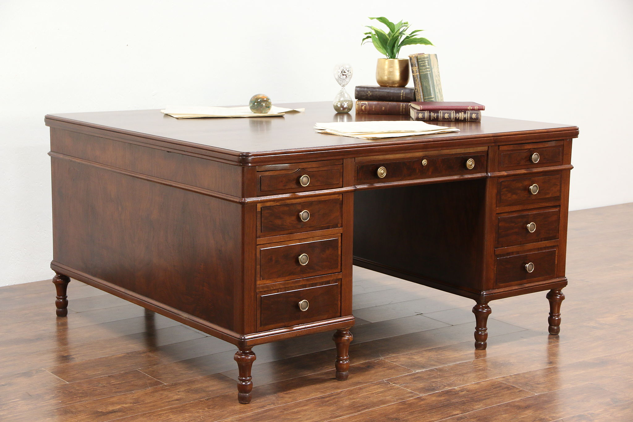 Partner Library or Office Desk  Antique 1915 Walnut   Burl. Desks  Conference Tables   Harp Gallery Antique Furniture  sort by