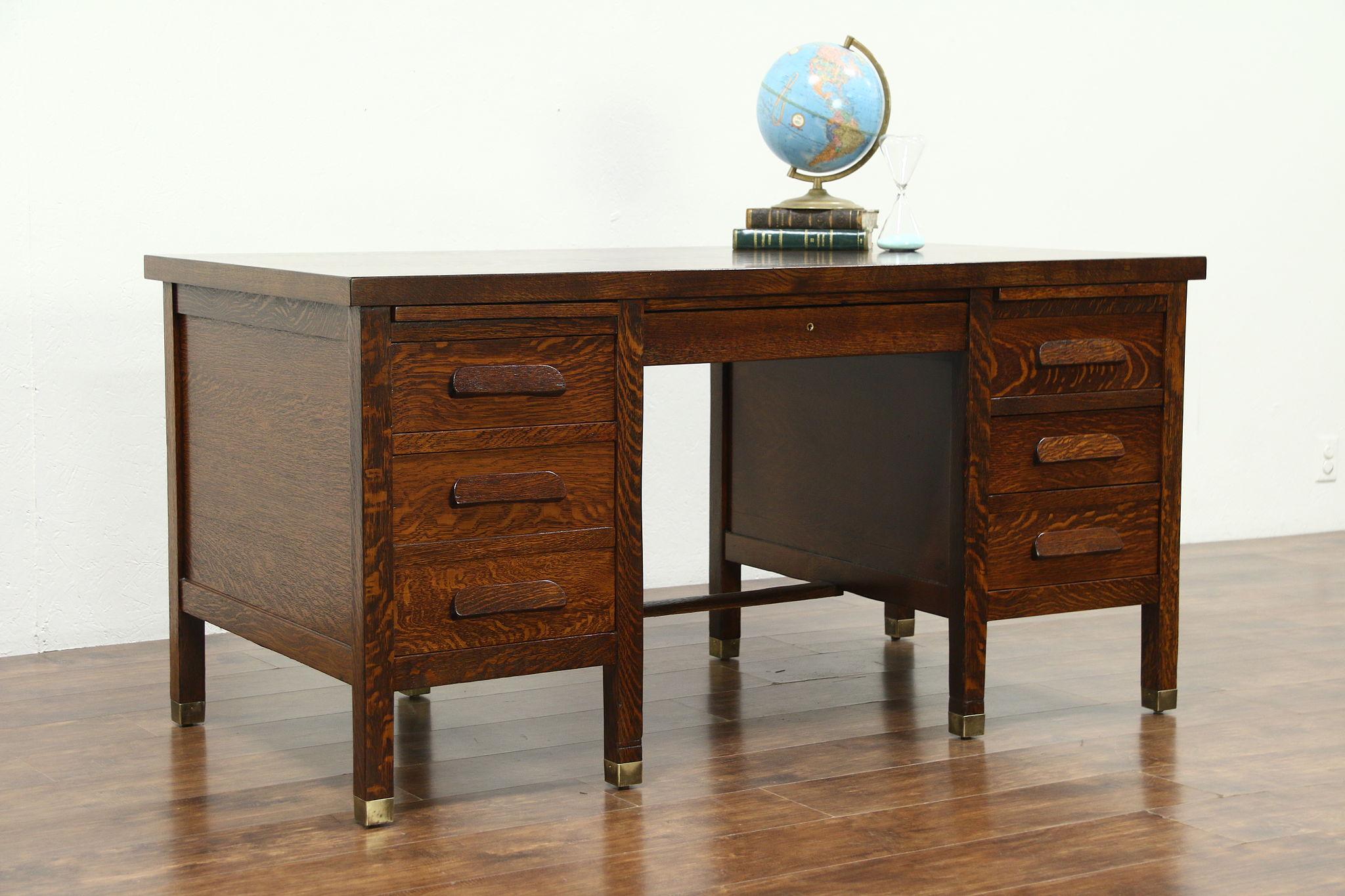 Arts Crafts Mission Oak 1915 Antique Craftsman Library Or Office Desk Photo