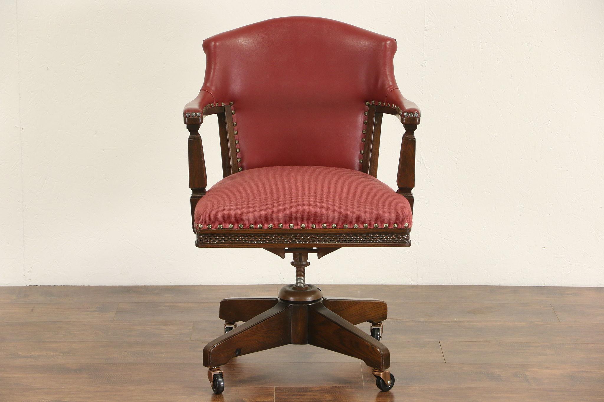 Romweber 1960u0027s Vintage Signed Oak Executive Or Library Swivel Desk  Chair