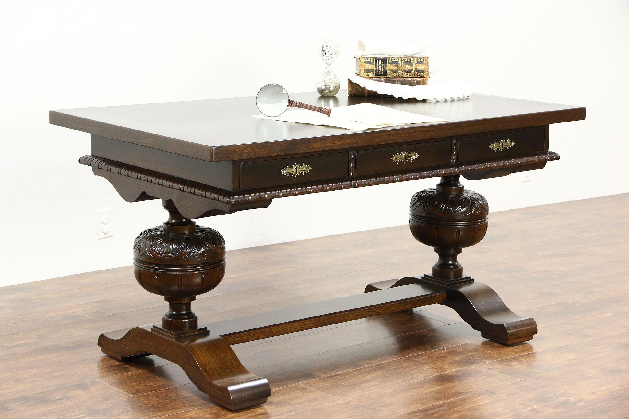 Oak Renaissance Antique 1915 Library Table Writing Desk, Germany