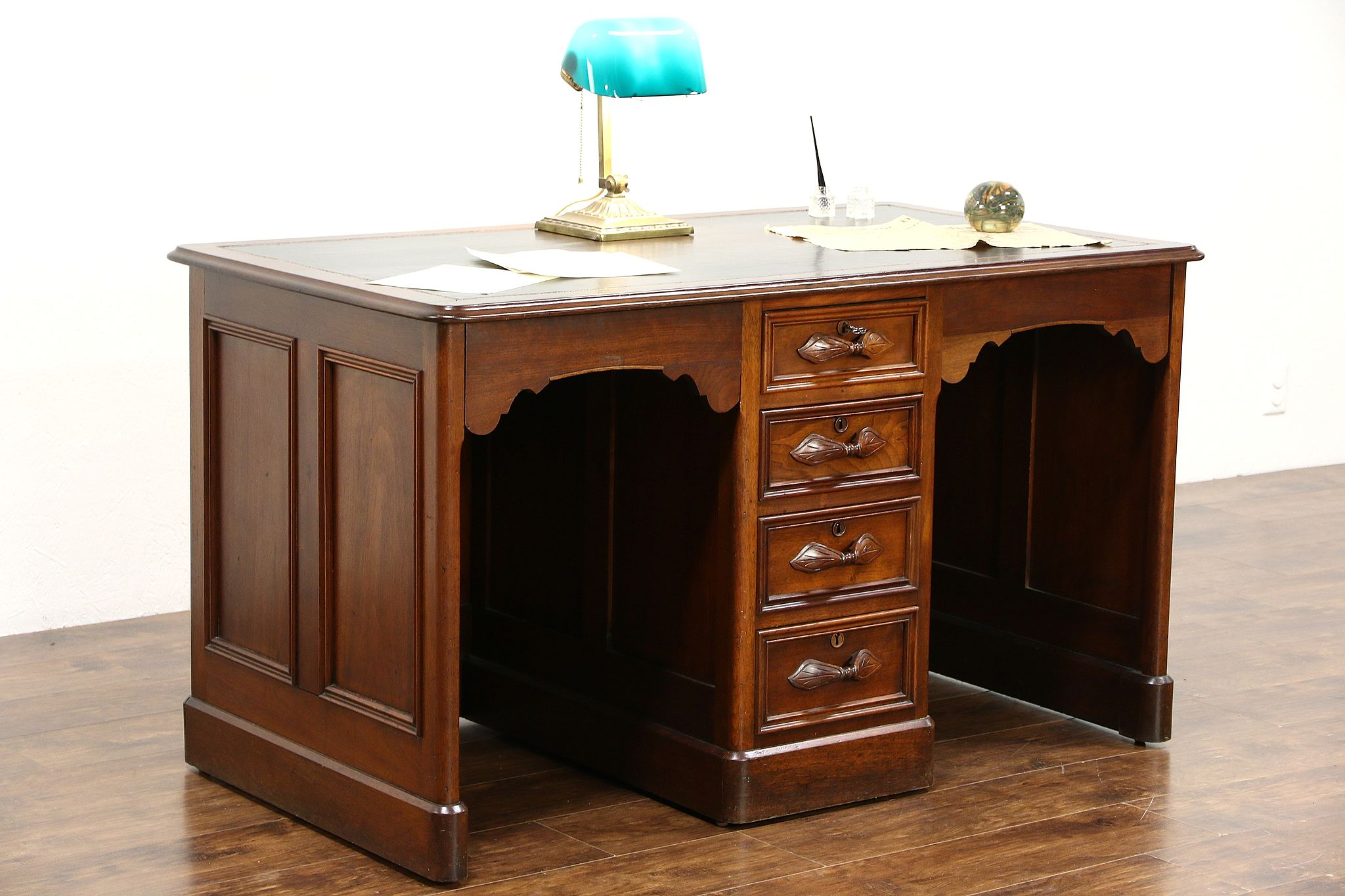 Victorian Carved Walnut 1870 S Antique Twin Or Partner Desk Leather Top