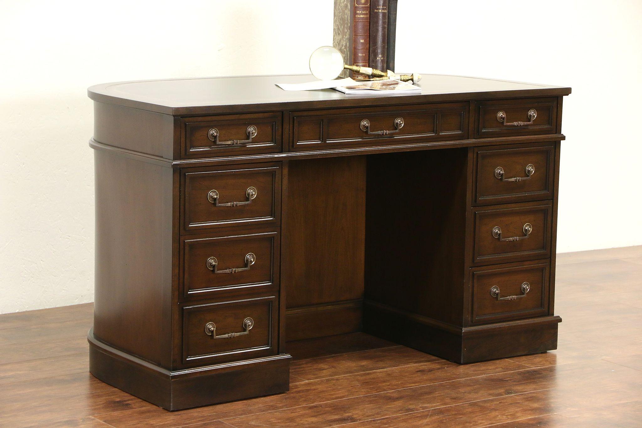 sligh furniture office room. Cherry 1970 Vintage Leather Top Desk, Signed Sligh Furniture Office Room