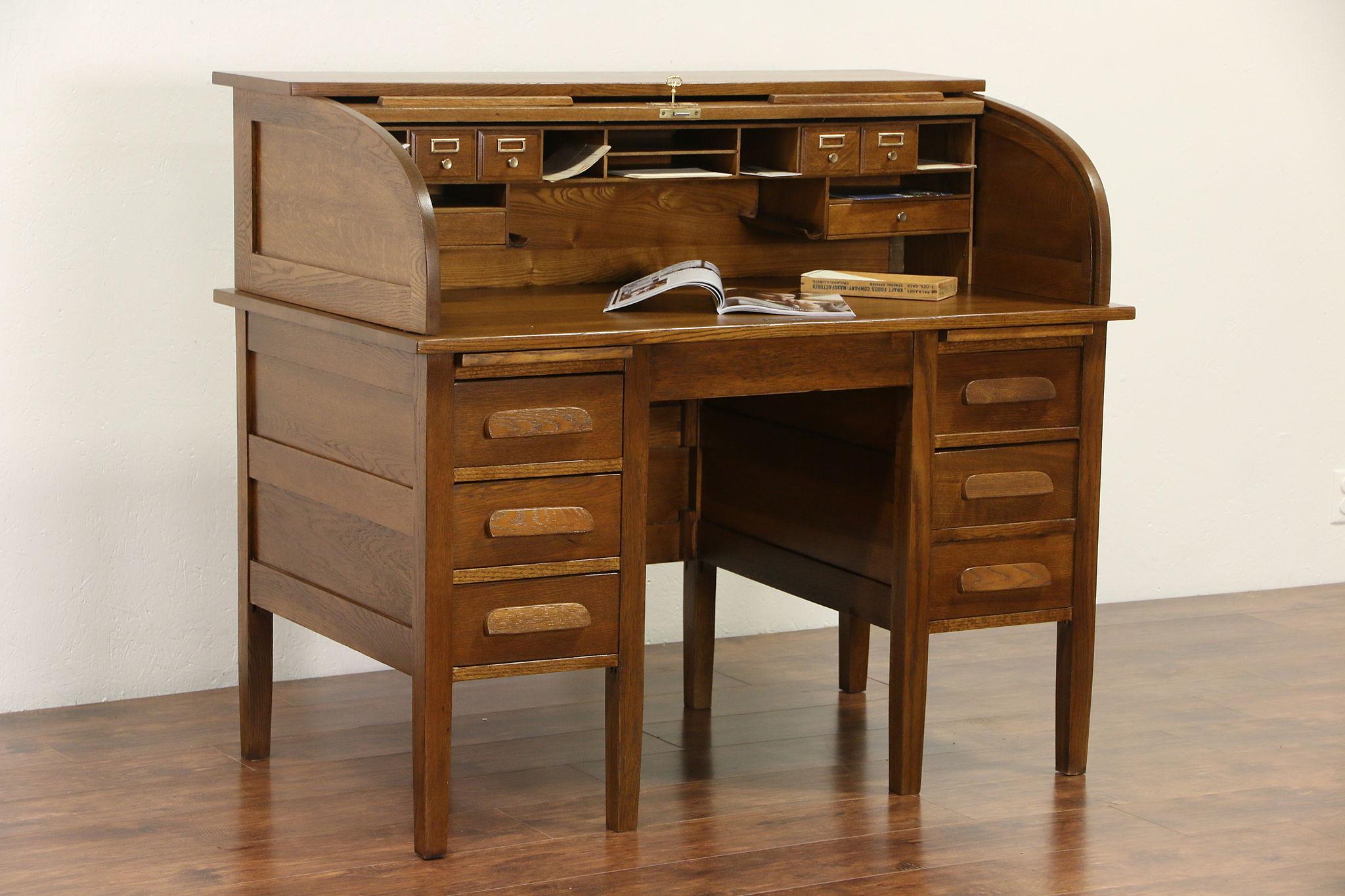 Sold Solid Oak 1910 Antique C Shape Rolltop Desk Pull Out